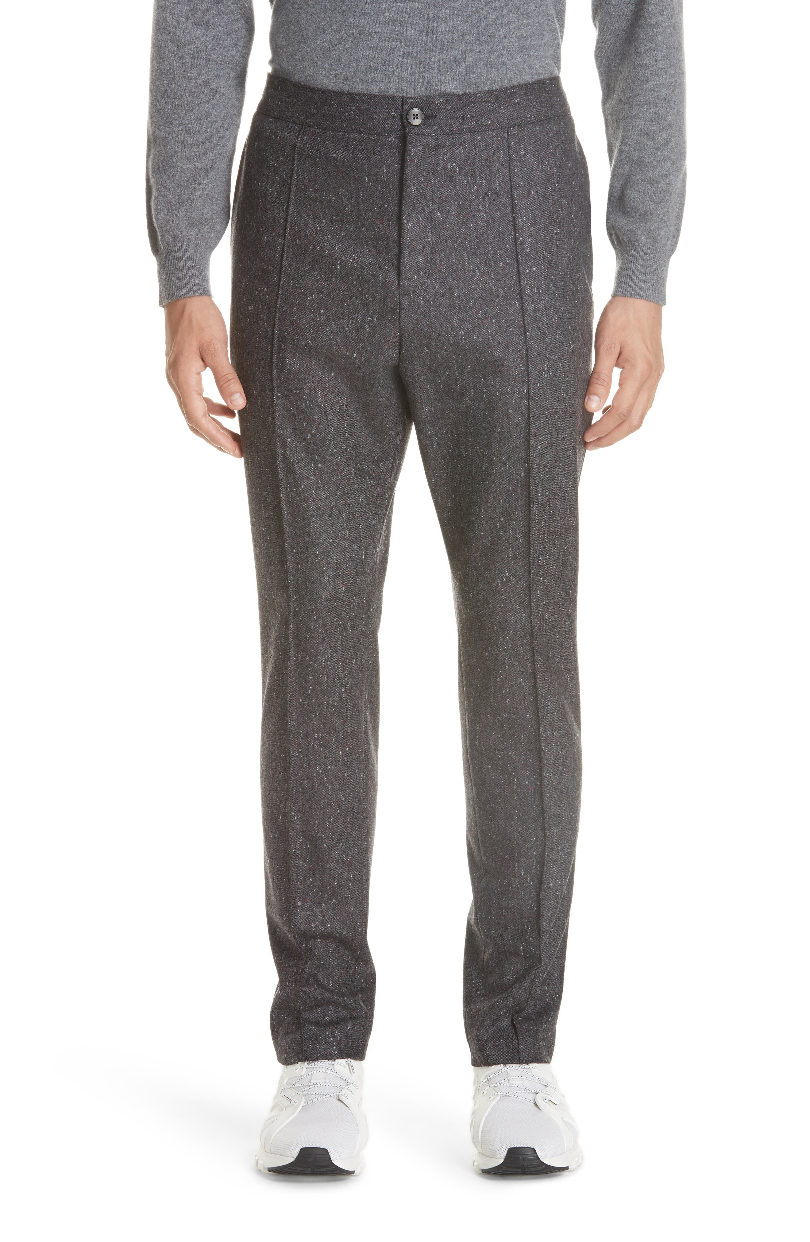 Flat Front Solid Wool Trousers,                         Main,                         color, GREY