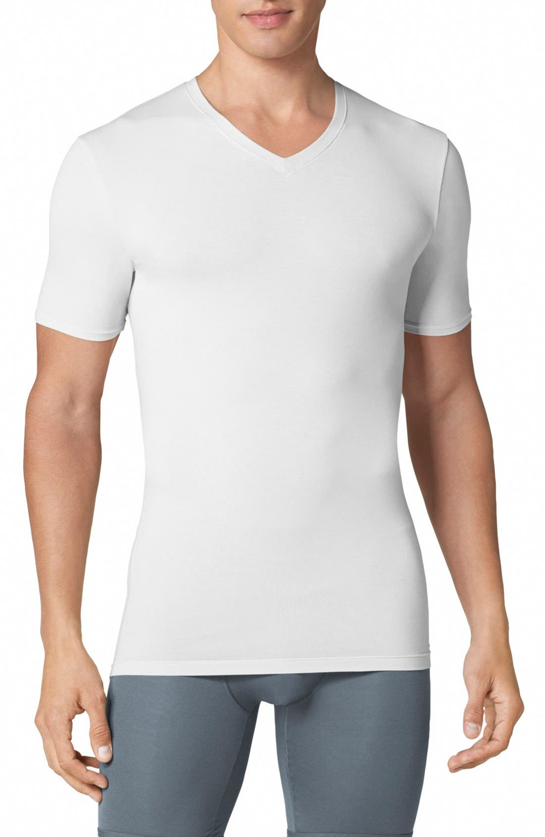 Second Skin High V-Neck Undershirt,                             Main thumbnail 1, color,                             WHITE