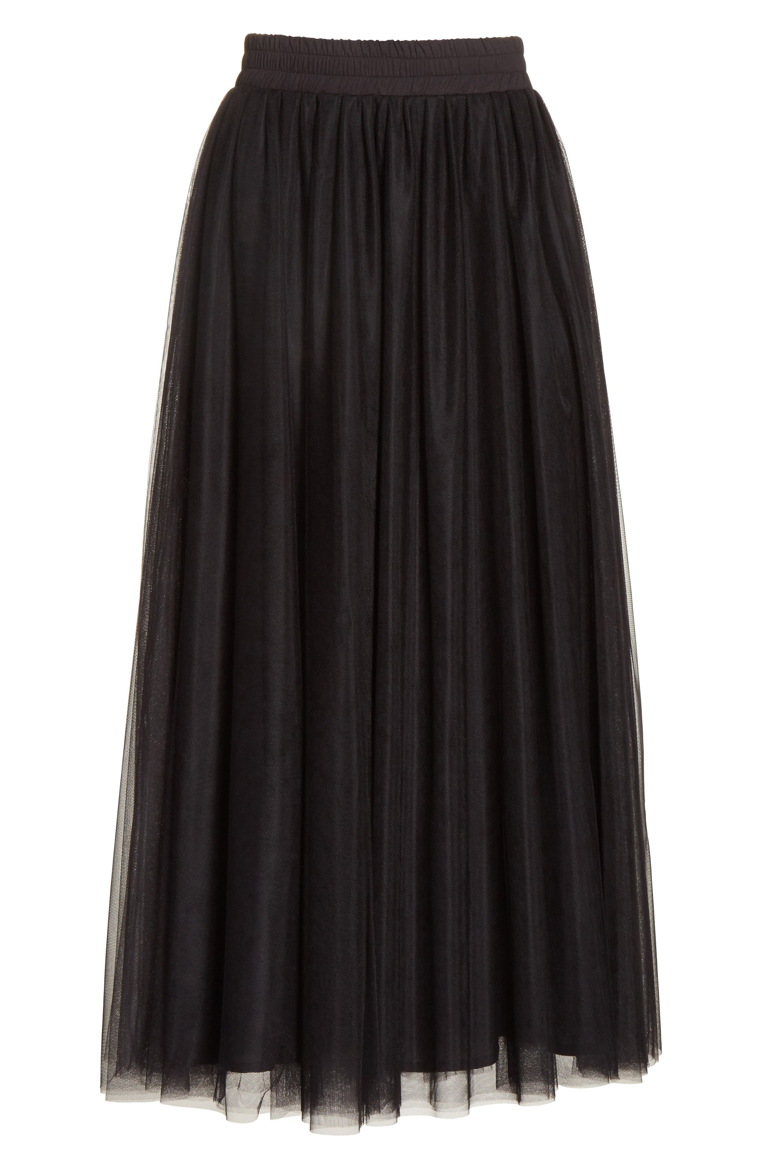 Tulle Midi Skirt,                             Alternate thumbnail 6, color,                             001