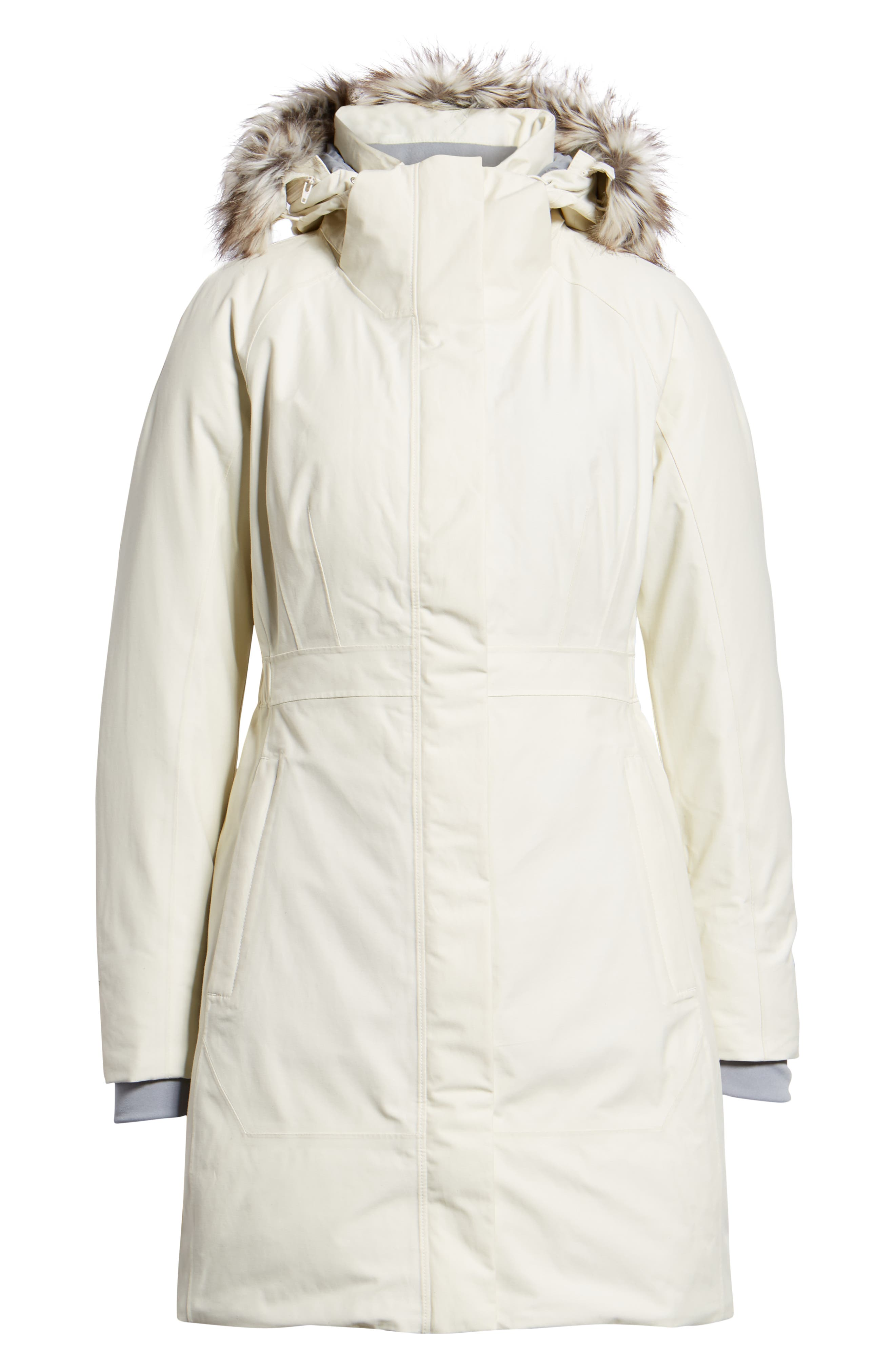 Arctic II Waterproof 550 Fill Power Down Parka with Faux Fur Trim,                             Alternate thumbnail 5, color,                             VINTAGE WHITE