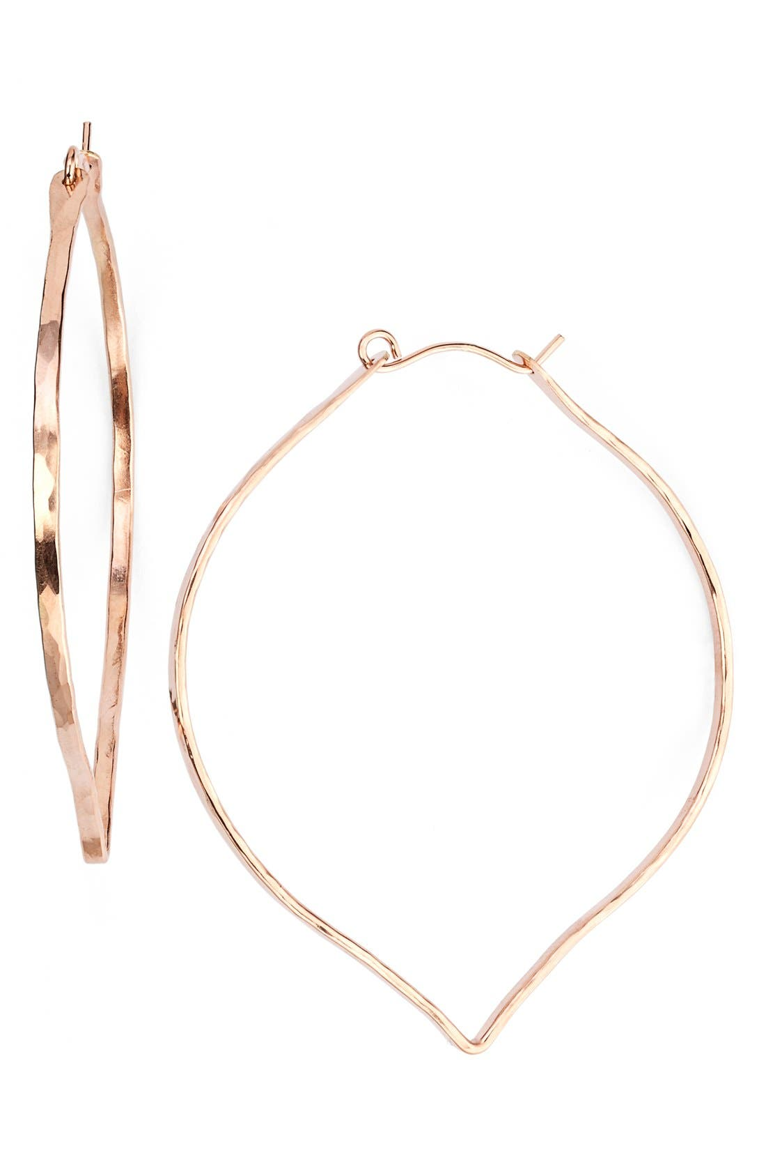 Ija 'Large' 14k-Rose Gold Fill Lotus Hoop Earrings,                         Main,                         color, 220