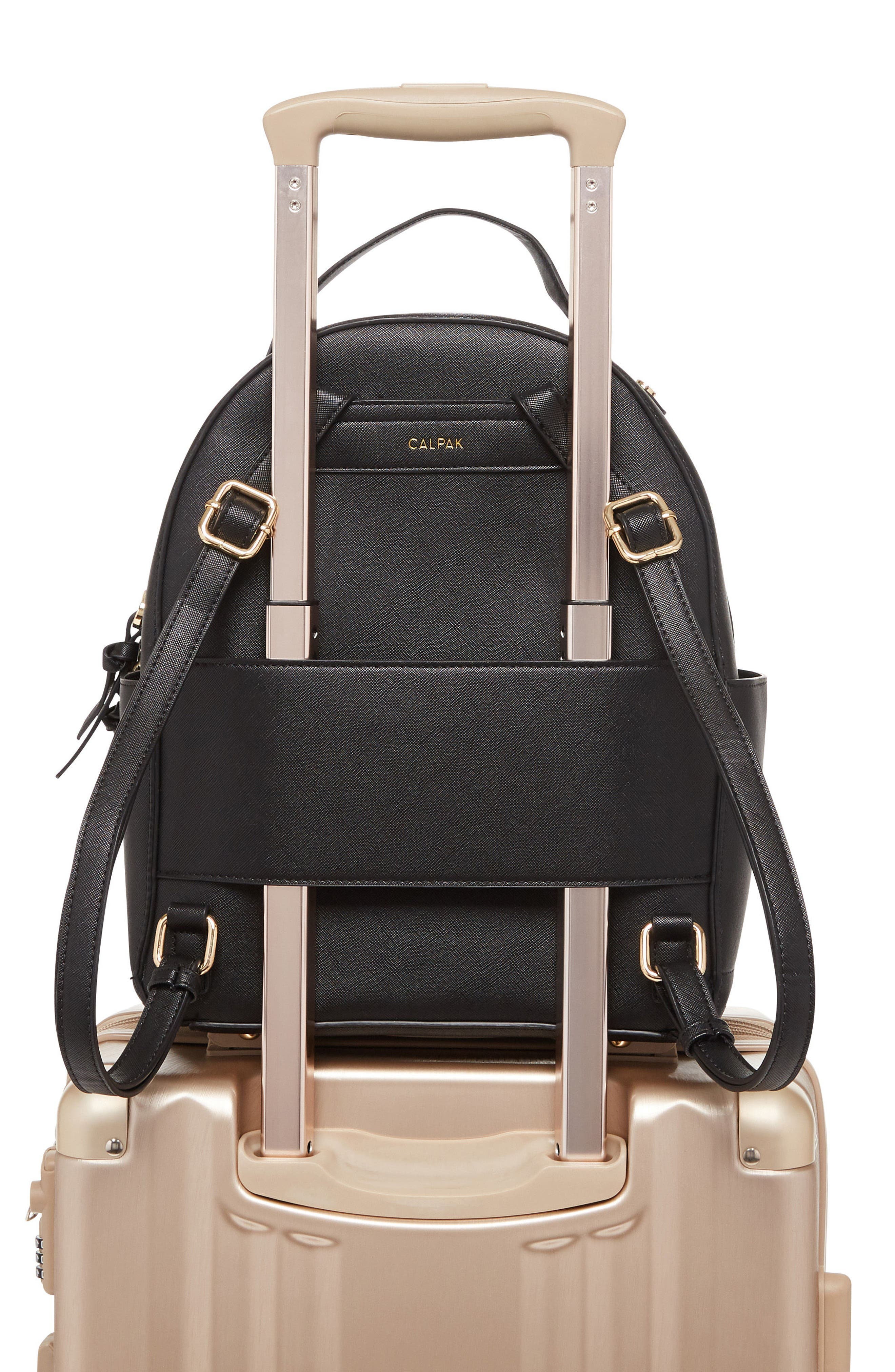 Kaya Faux Leather Round Backpack,                             Alternate thumbnail 5, color,                             BLACK