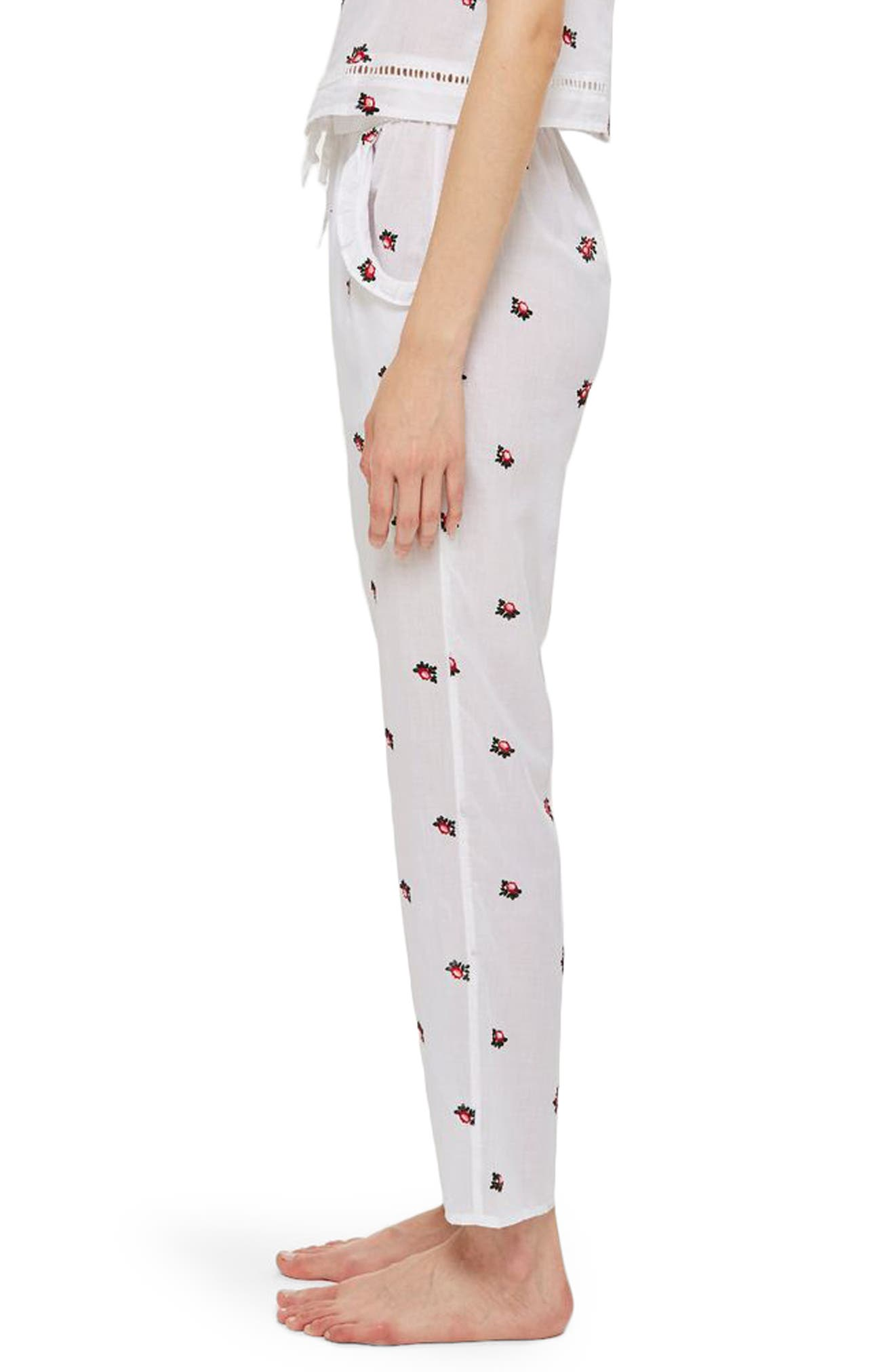 TOPSHOP,                             Embroidered Floral Ankle Pajama Pants,                             Alternate thumbnail 3, color,                             100