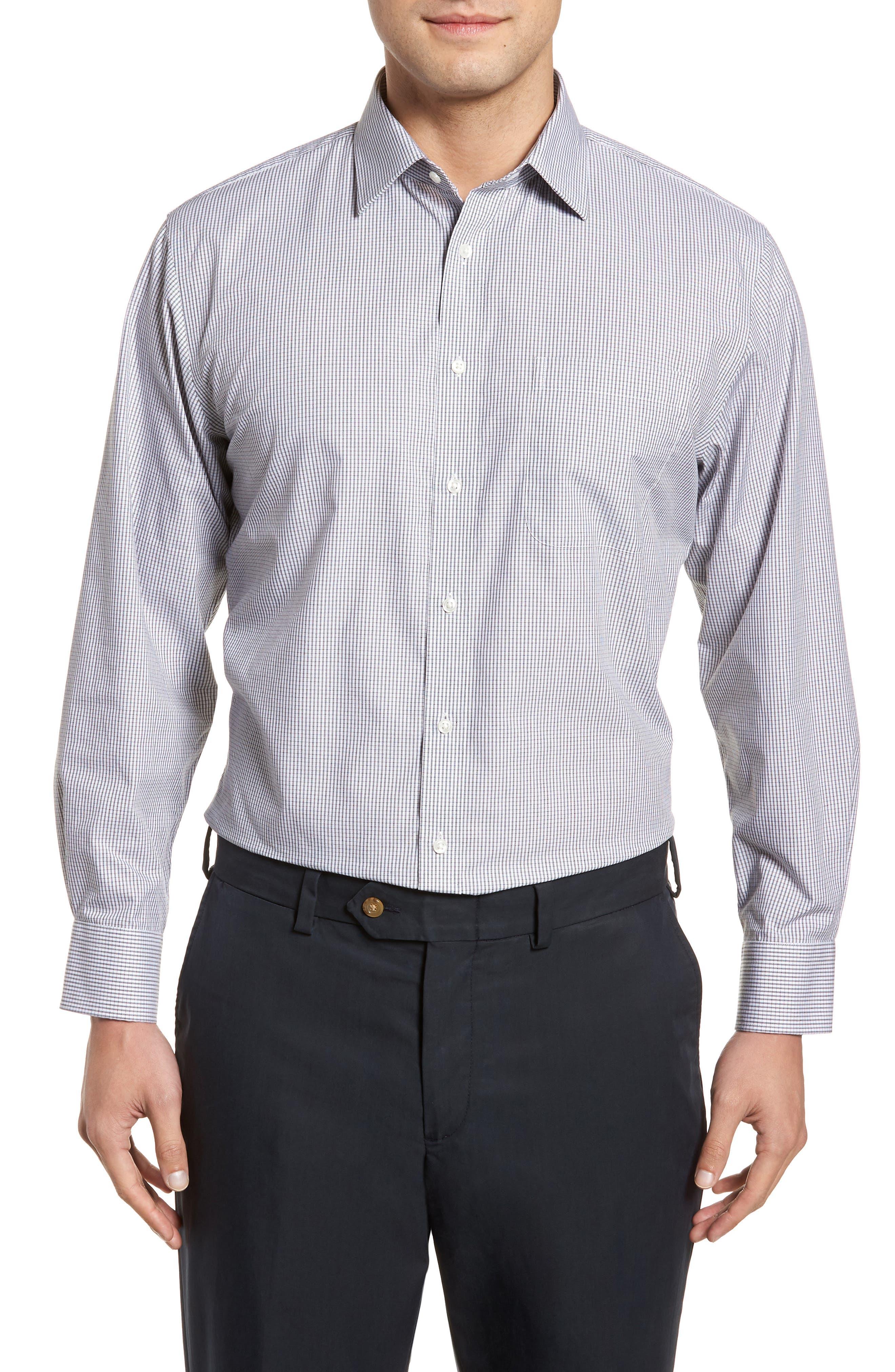 Traditional Fit Non-Iron Check Dress Shirt,                             Main thumbnail 1, color,
