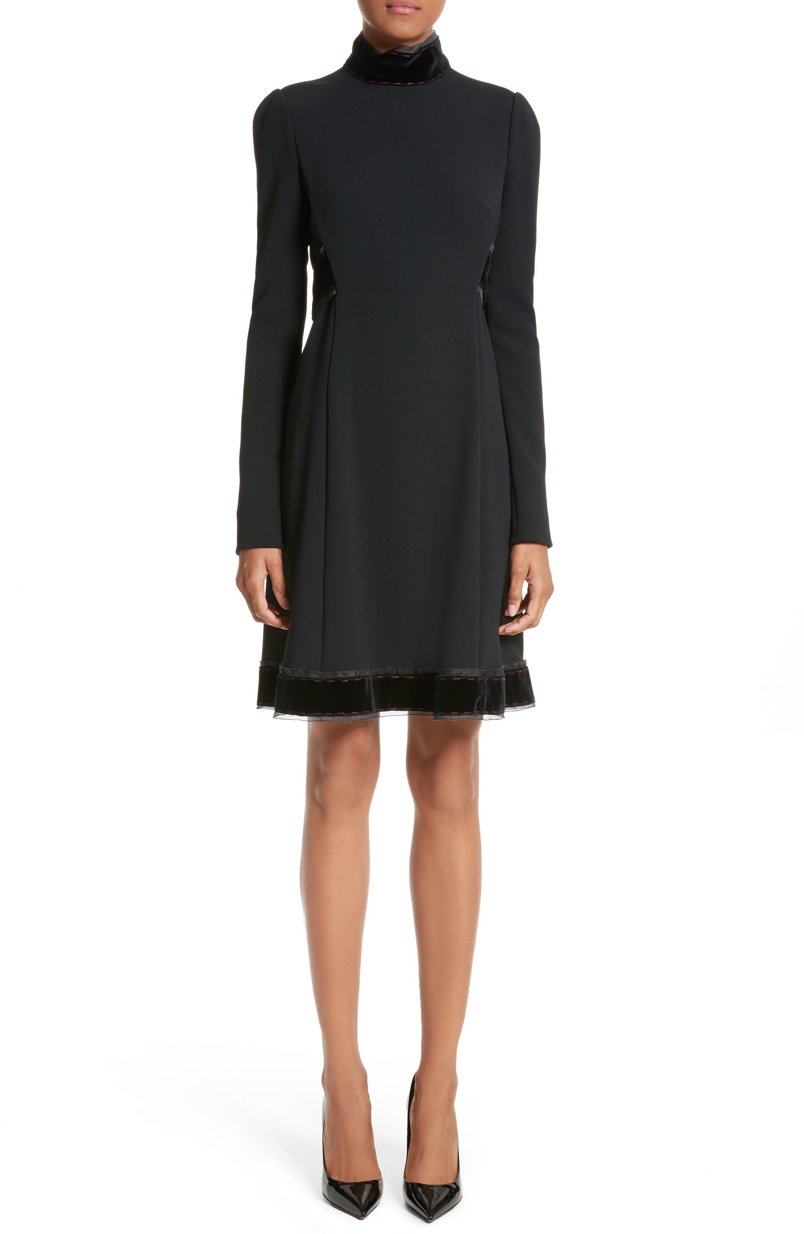 Velvet Trim Cady Turtleneck Dress,                             Main thumbnail 1, color,                             001