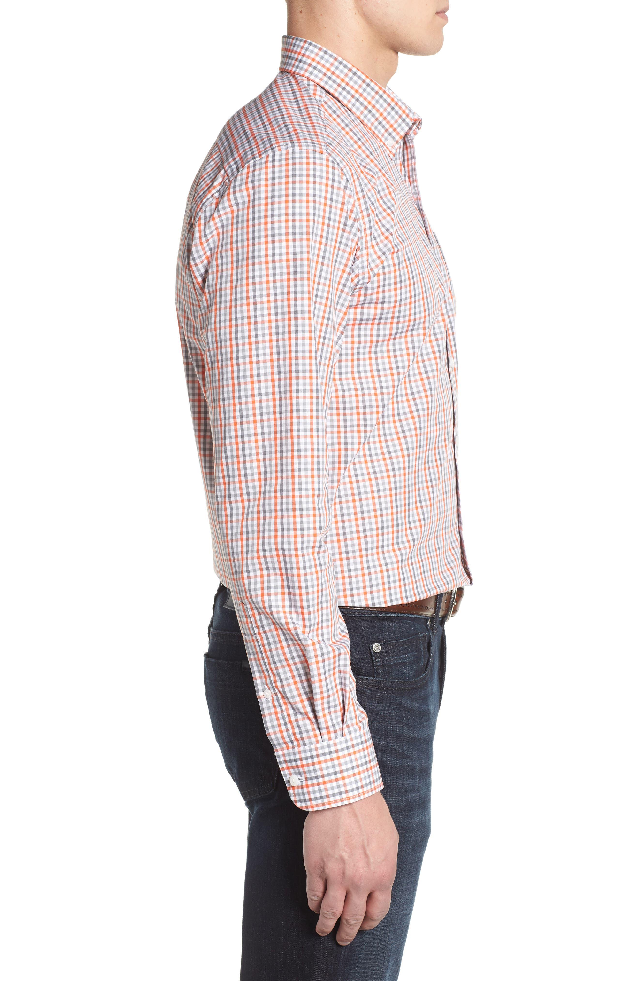 Cincinnati Bengals - Gilman Regular Fit Plaid Sport Shirt,                             Alternate thumbnail 3, color,                             COLLEGE ORANGE