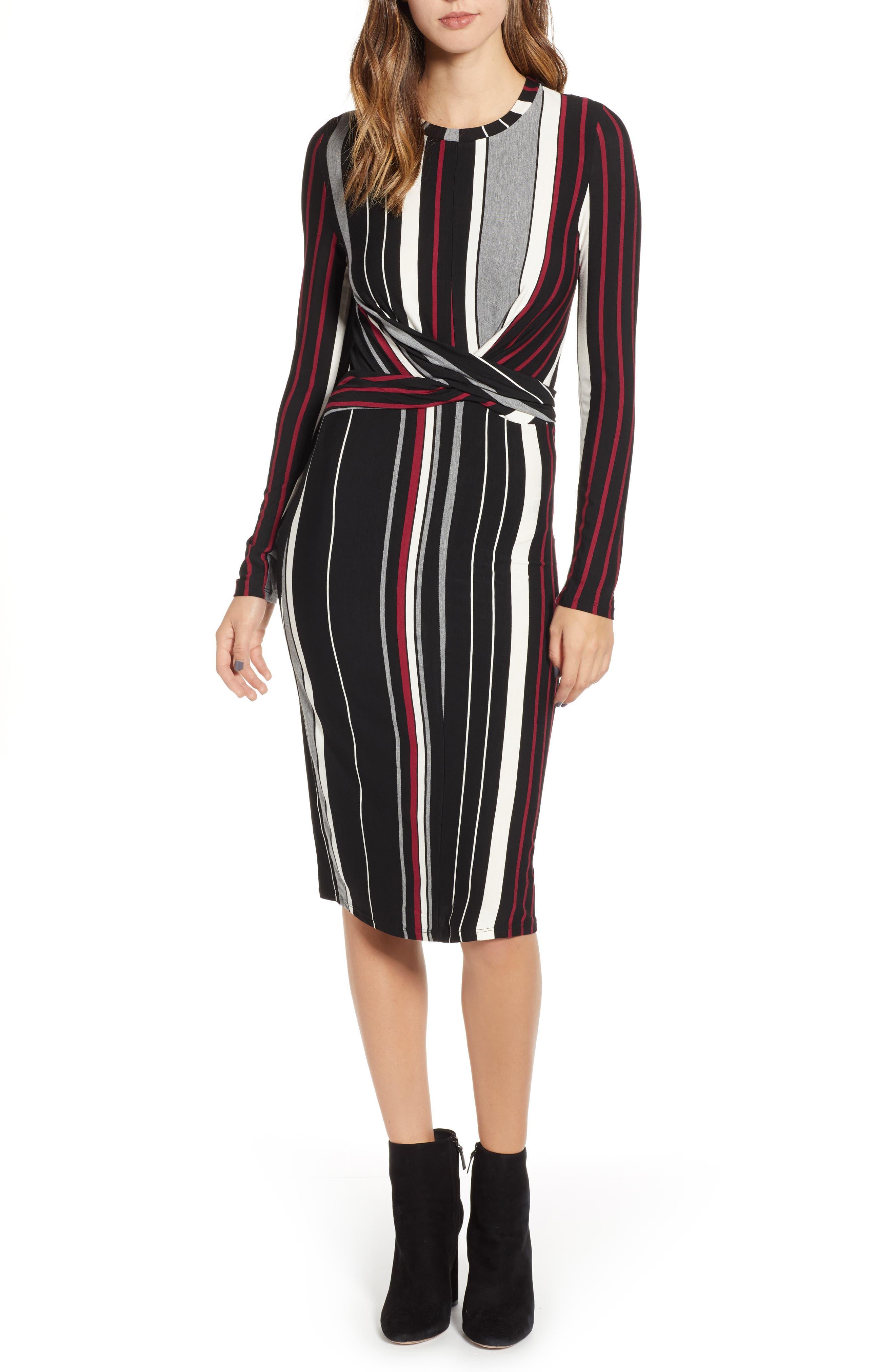 Wrap Front Midi Dress,                             Main thumbnail 1, color,                             002