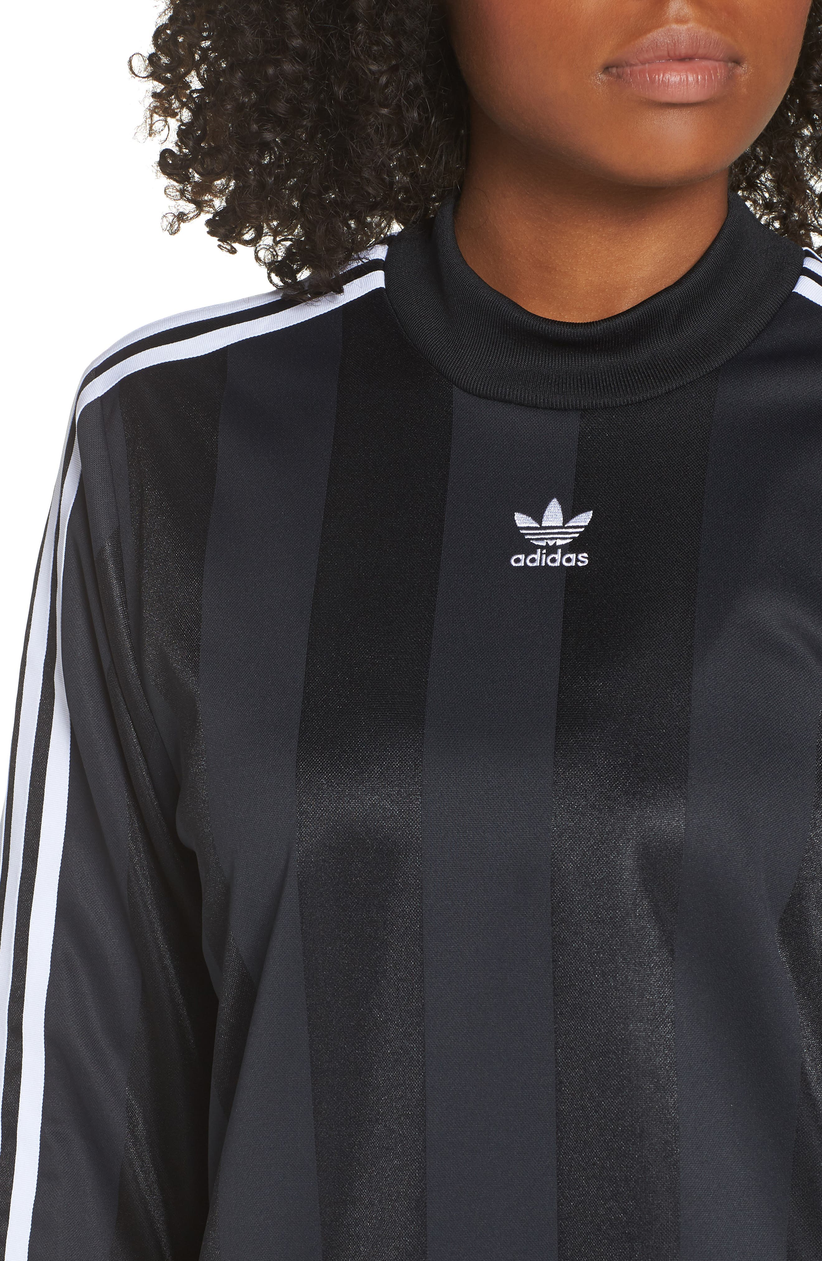 adidas 3-Stripes Long Sleeve Tee,                             Alternate thumbnail 4, color,                             001