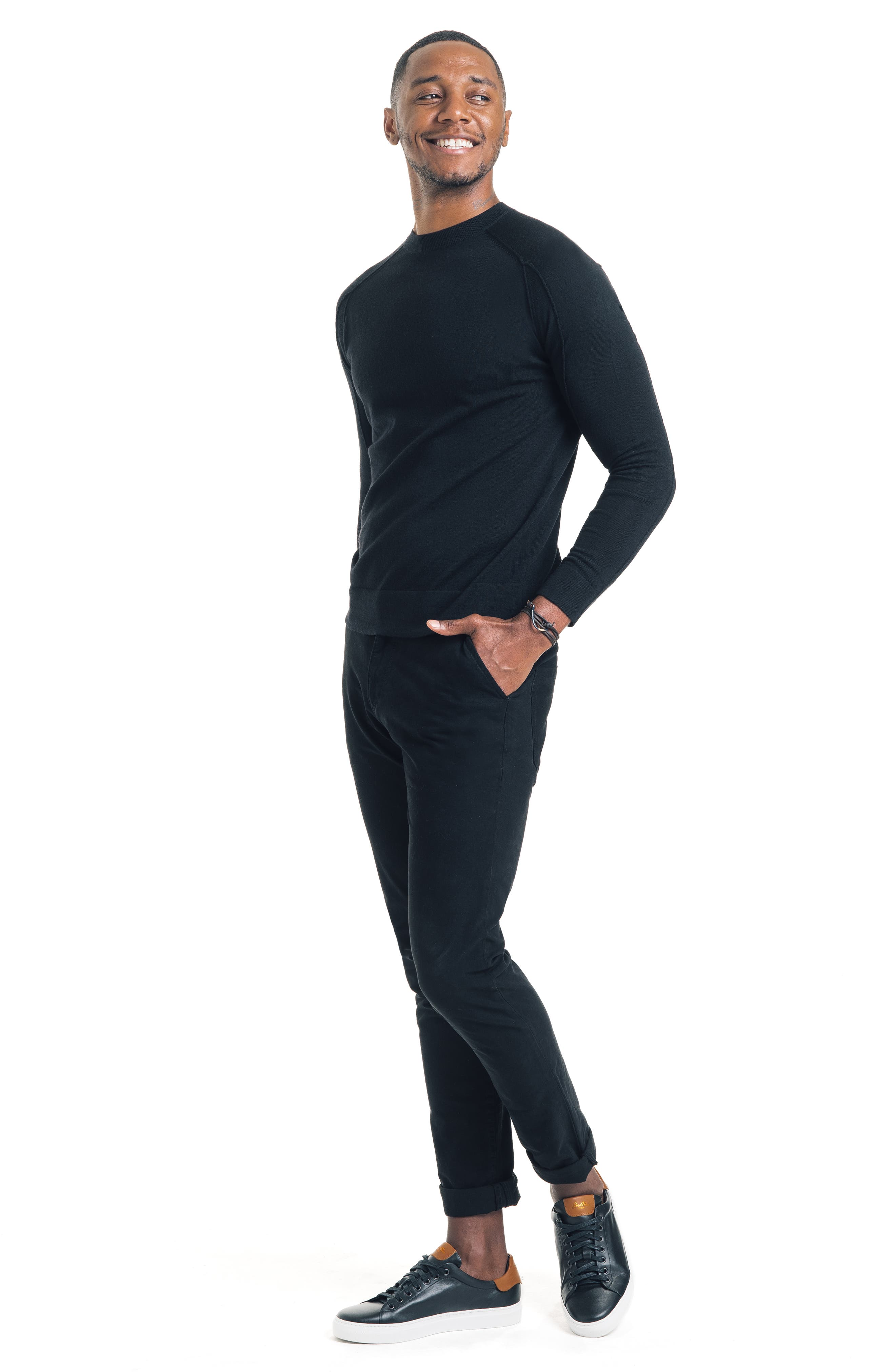Modern Slim Fit Merino Wool Sweater,                             Alternate thumbnail 5, color,                             BLACK