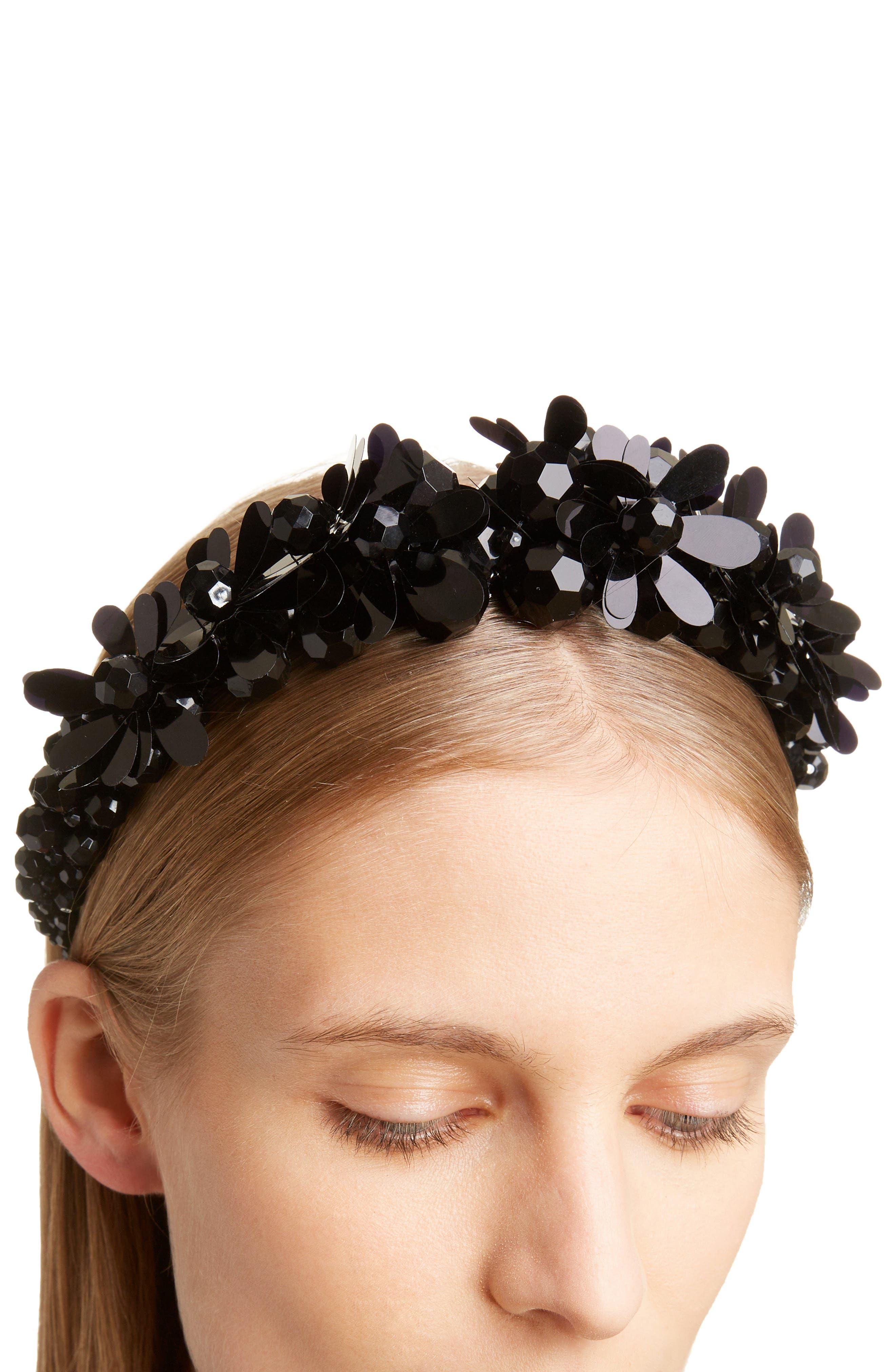 SIMONE ROCHA,                             Chunky Embellished Headband,                             Alternate thumbnail 3, color,                             JET