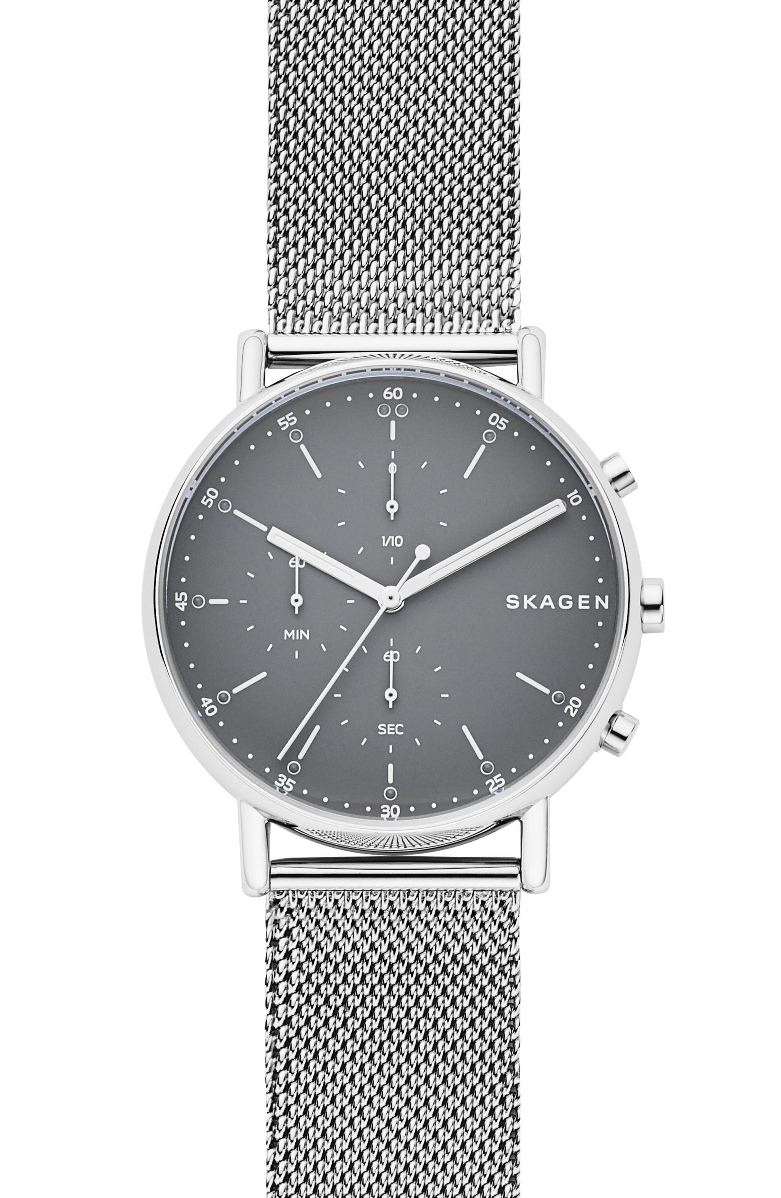 Signatur Chronograph Mesh Strap Watch, 40mm,                             Main thumbnail 1, color,                             040