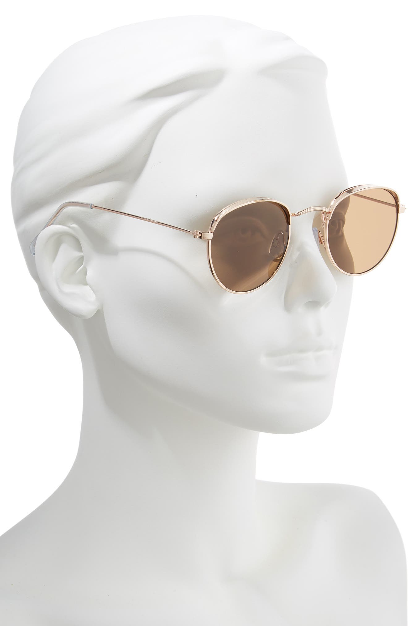 50mm Round Sunglasses,                             Alternate thumbnail 2, color,                             GOLD/ BROWN