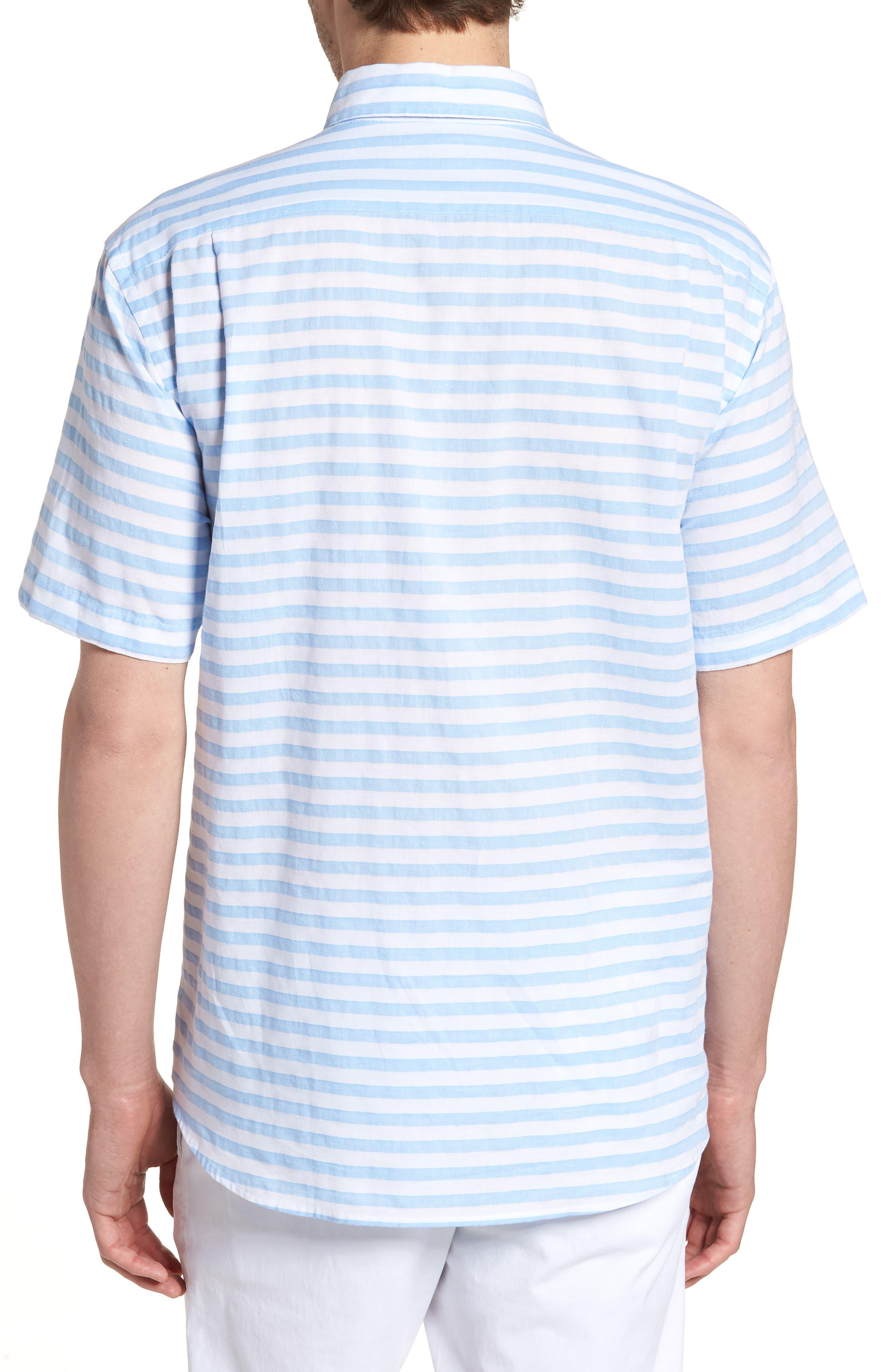 Toe Side Stripe Short Sleeve Sport Shirt,                             Alternate thumbnail 3, color,