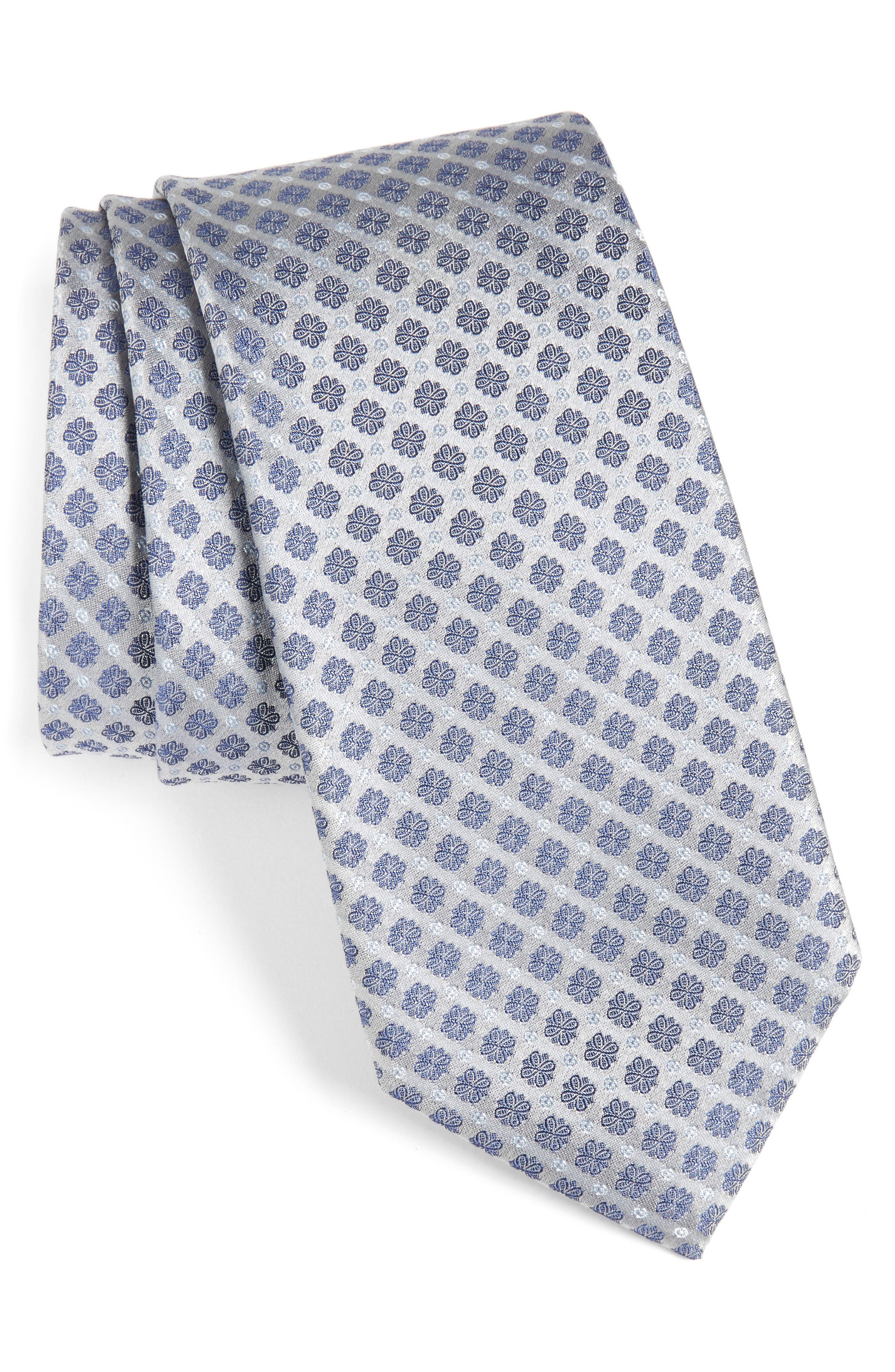 Forget Me Not Floral Silk Tie,                         Main,                         color, 040