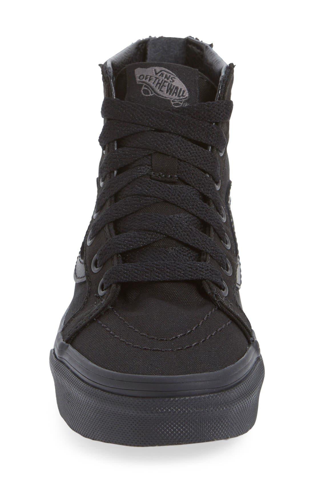 'Sk8-Hi' Zip Sneaker,                             Alternate thumbnail 4, color,                             BLACK /BLACK CHECK
