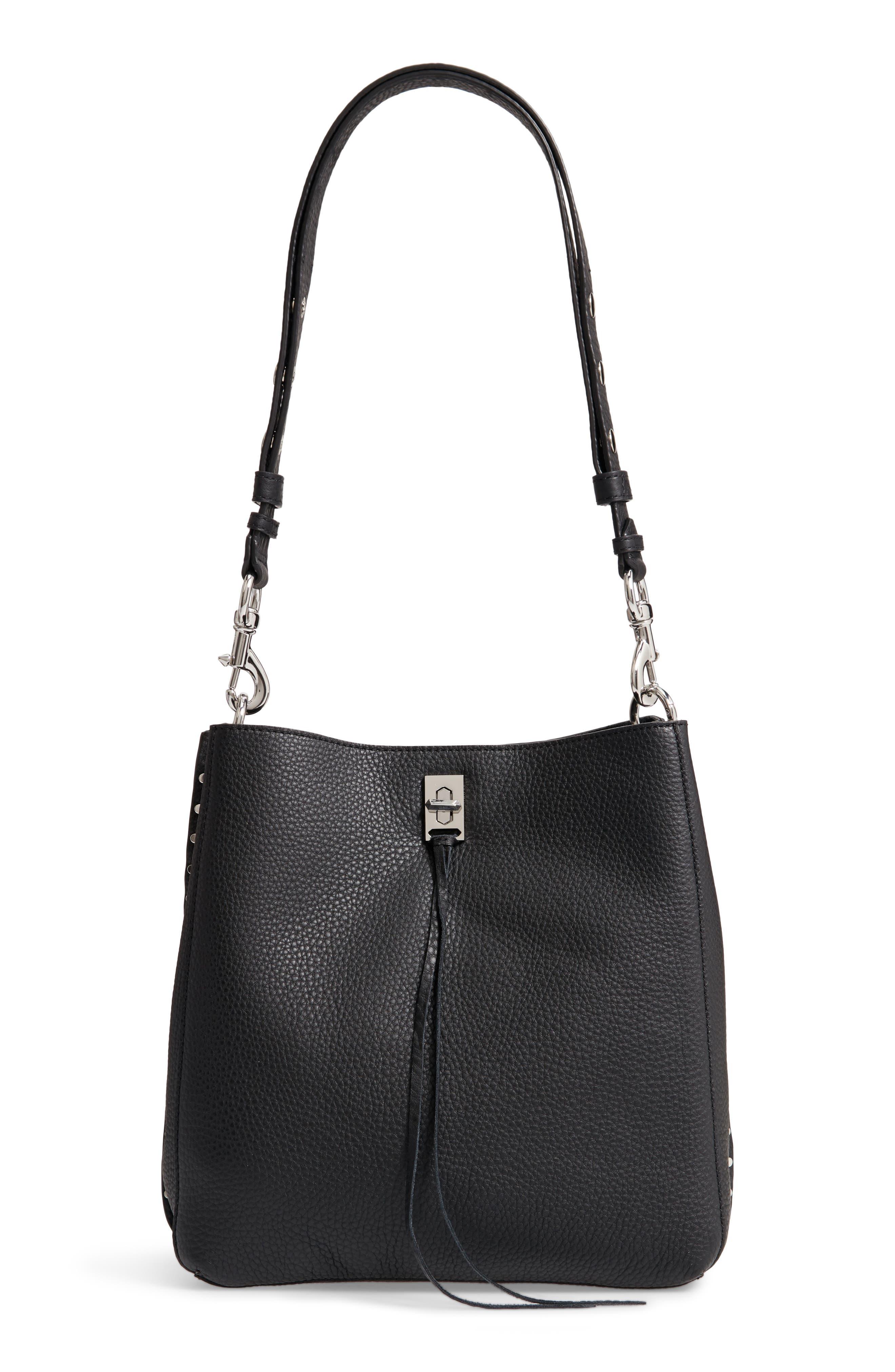 Darren Deerskin Leather Shoulder Bag,                         Main,                         color, JET BLACK