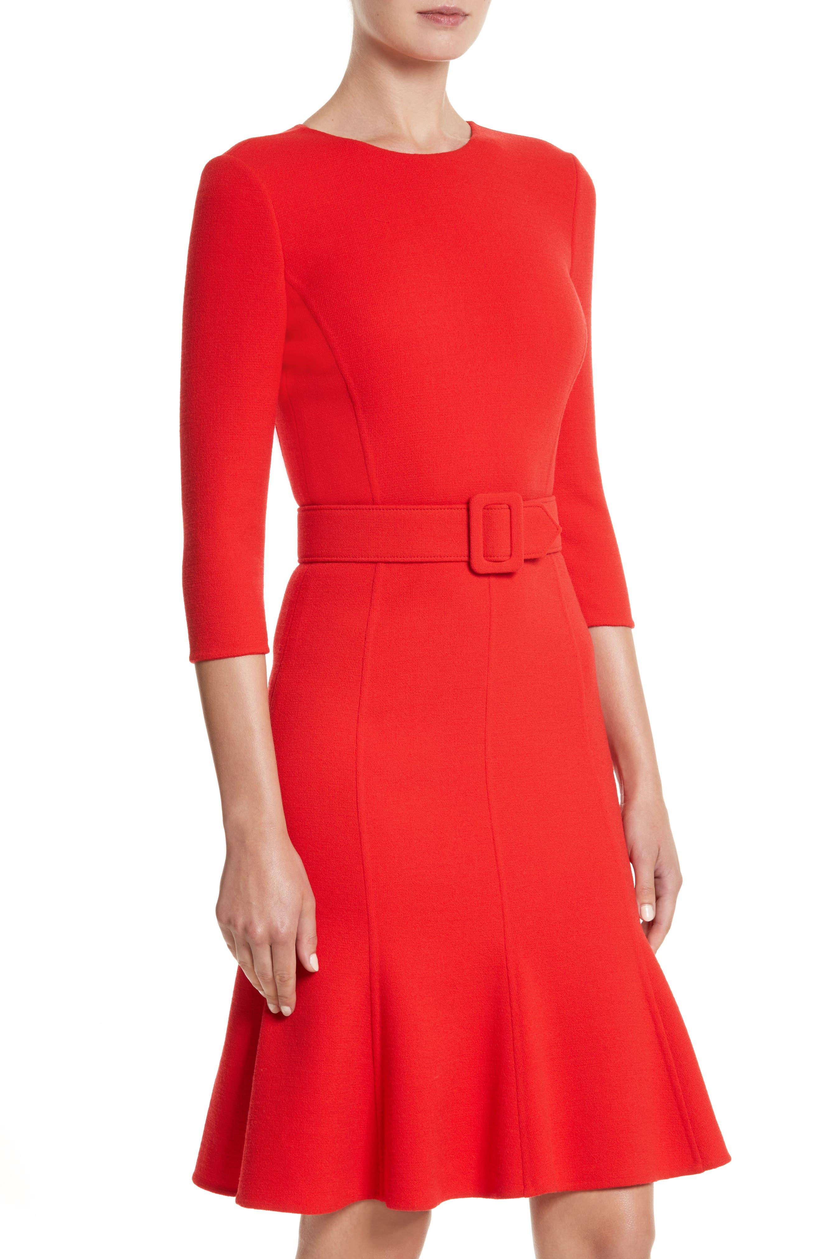 Crepe Fit & Flare Dress,                             Alternate thumbnail 4, color,                             620