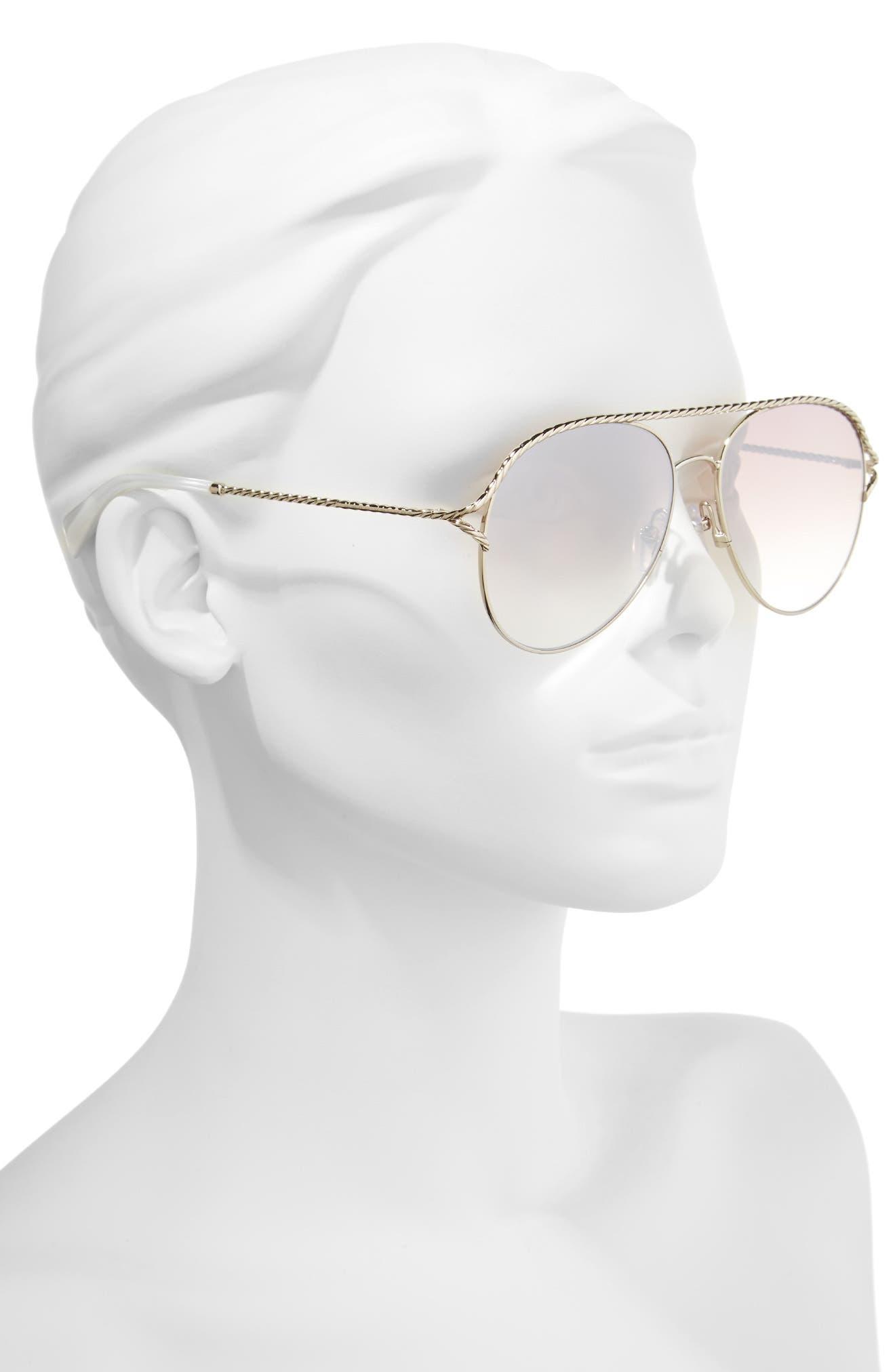 58mm Aviator Sunglasses,                             Alternate thumbnail 2, color,                             100