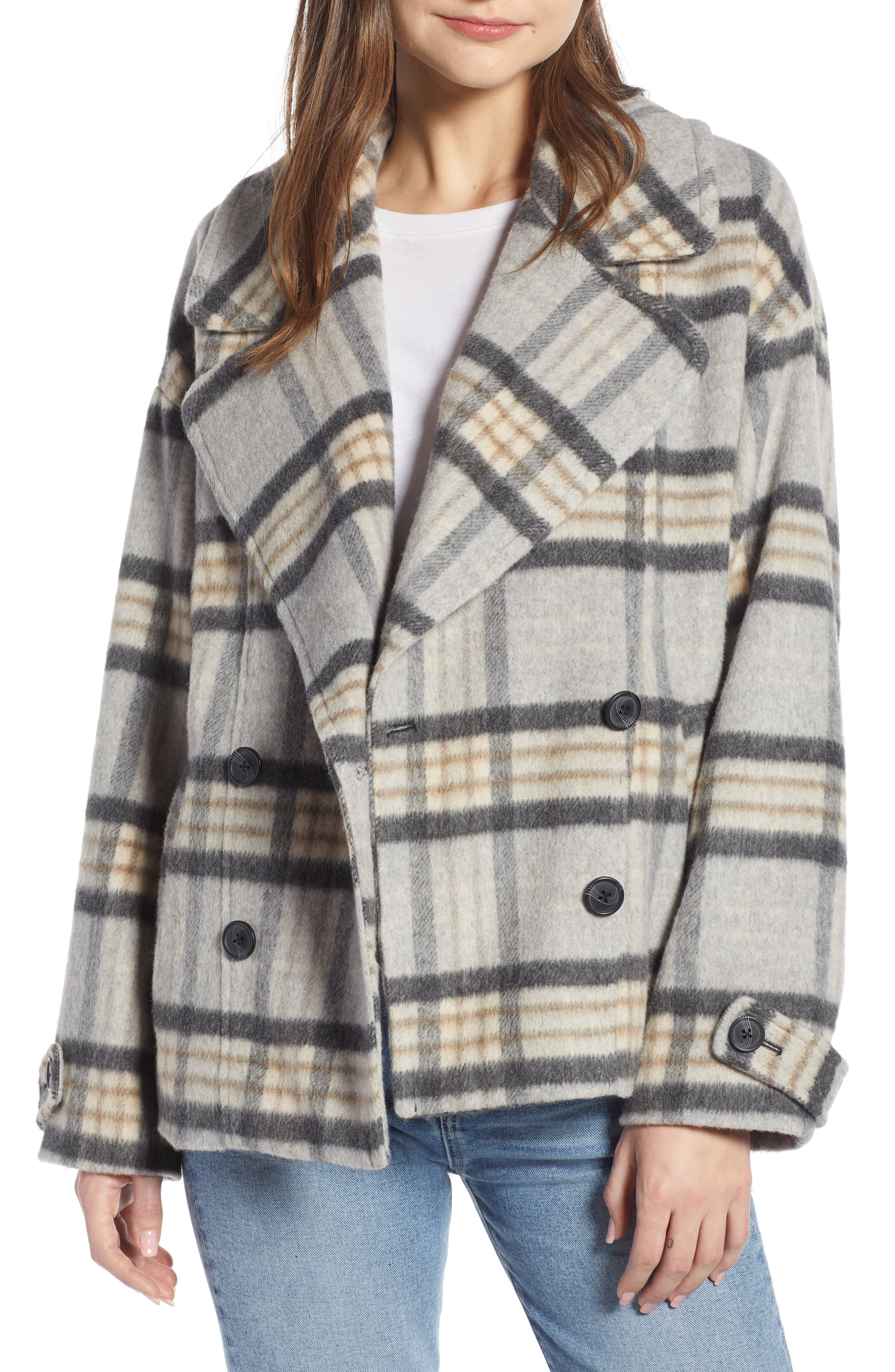 SOMETHING NAVY Double Breasted Crop Jacket, Main, color, GREY LIGHT HEATHER PLAID