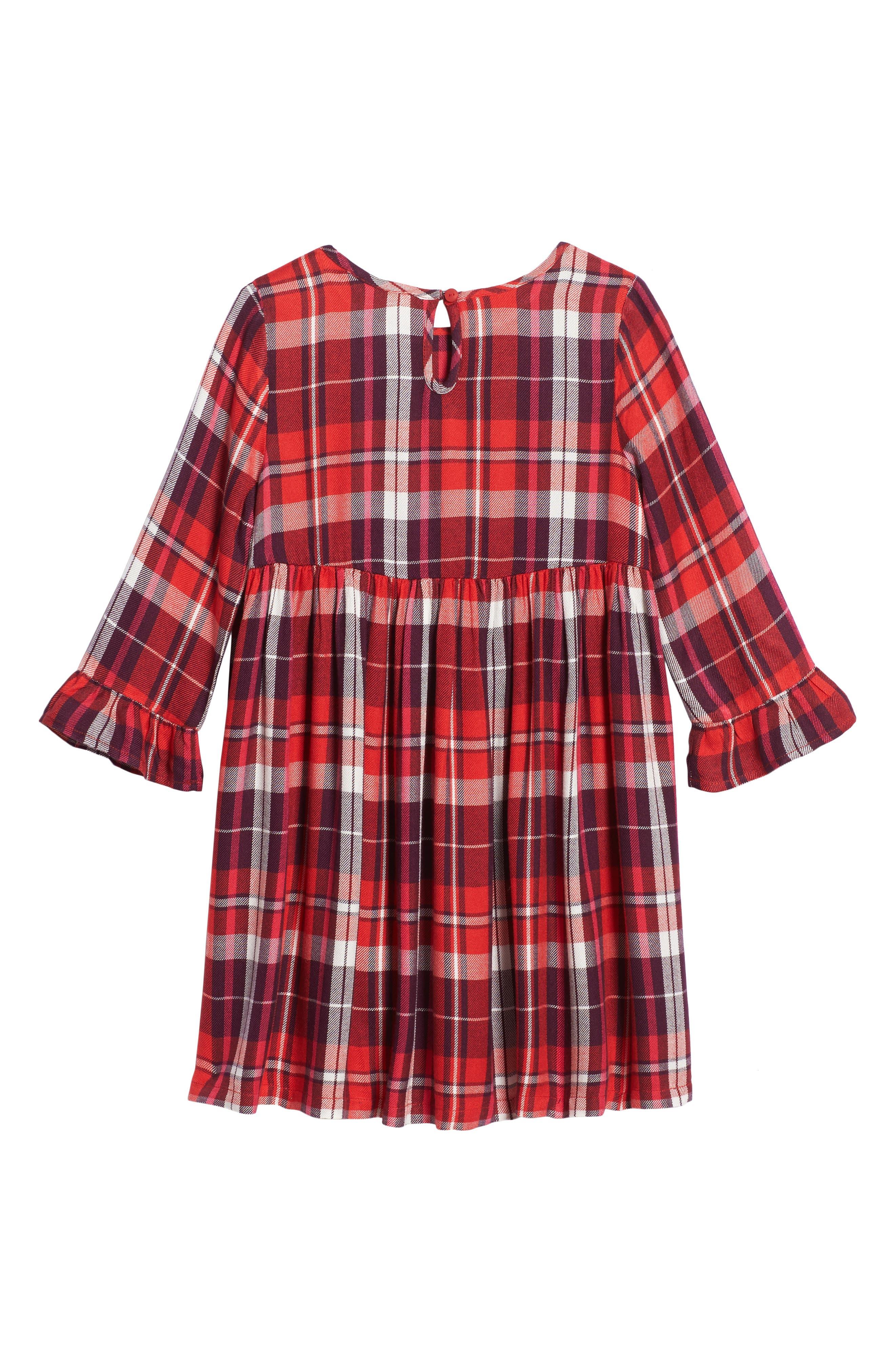Plaid Flutter Sleeve Dress,                             Alternate thumbnail 2, color,                             610