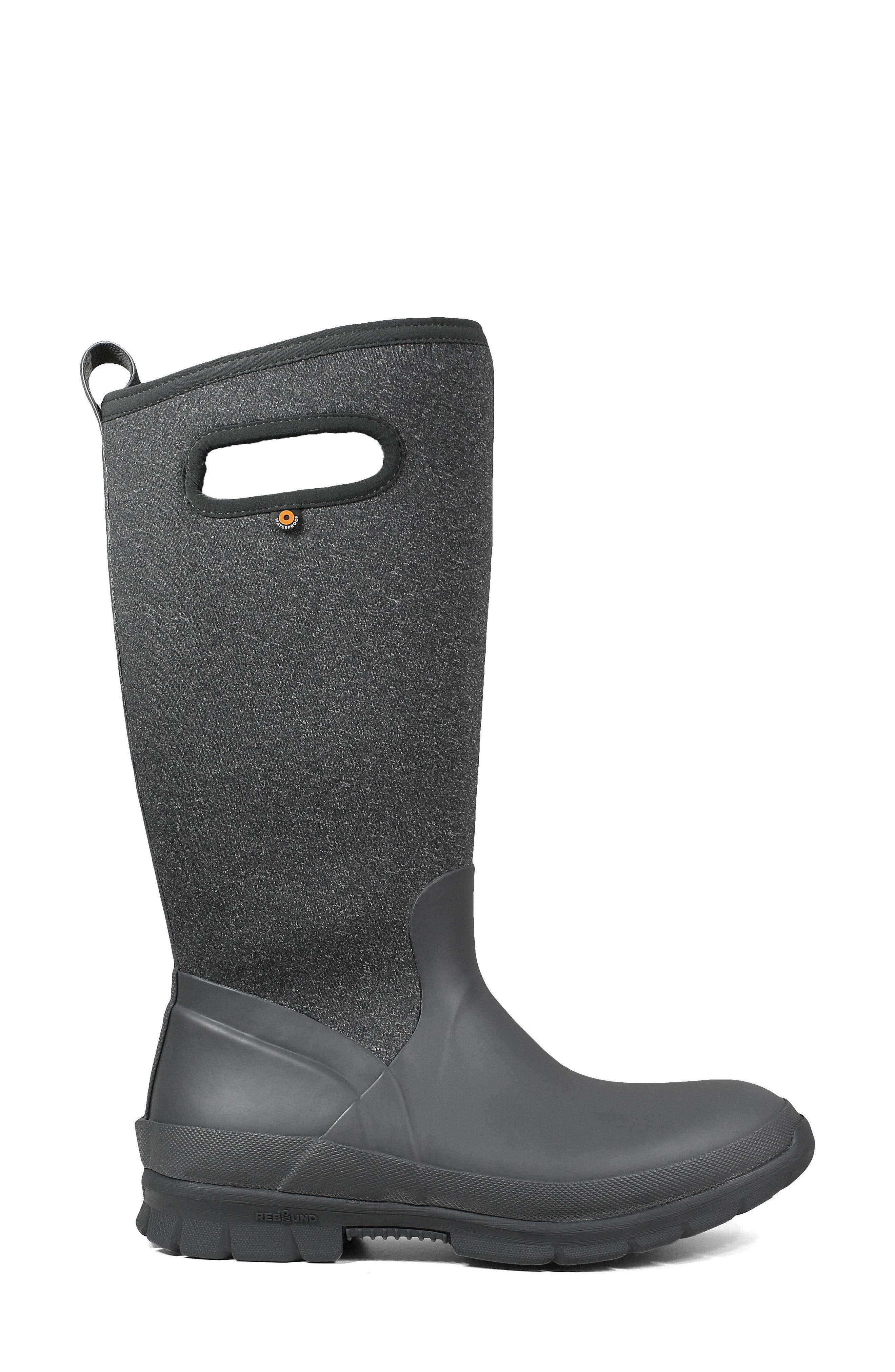 Crandall Waterproof Tall Boot,                             Alternate thumbnail 3, color,                             DARK GREY