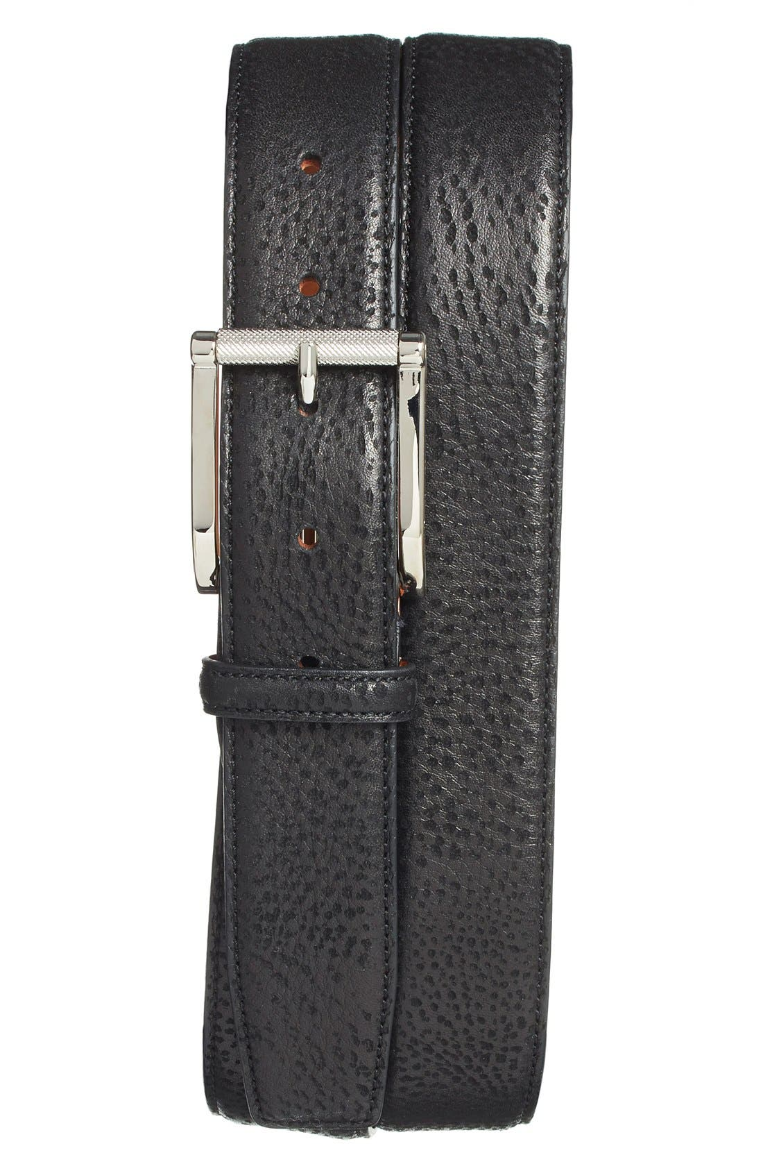 Leather Belt,                             Main thumbnail 1, color,                             001