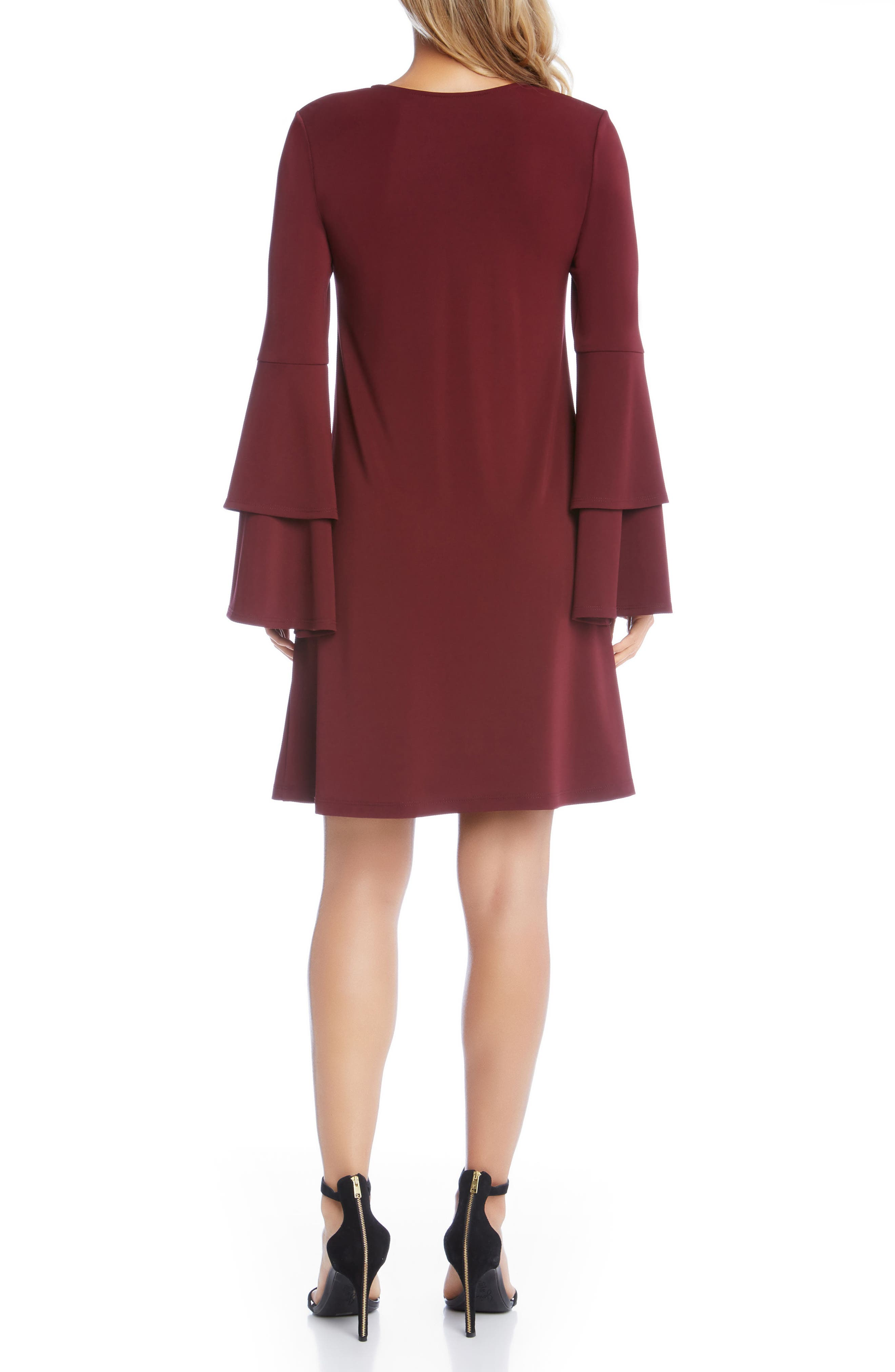 Tiered Bell Sleeve A-Line Dress,                             Alternate thumbnail 4, color,