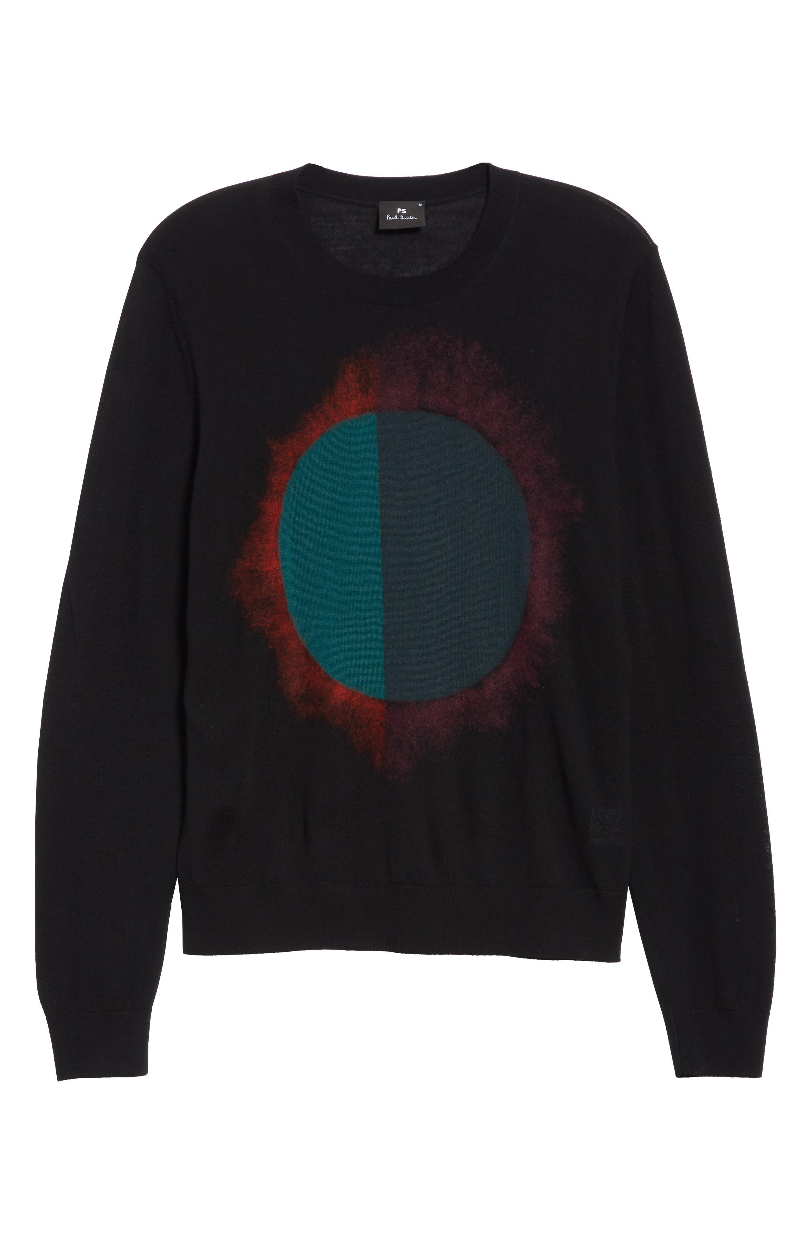 Circle Merino Wool Blend Sweater,                             Alternate thumbnail 6, color,                             001