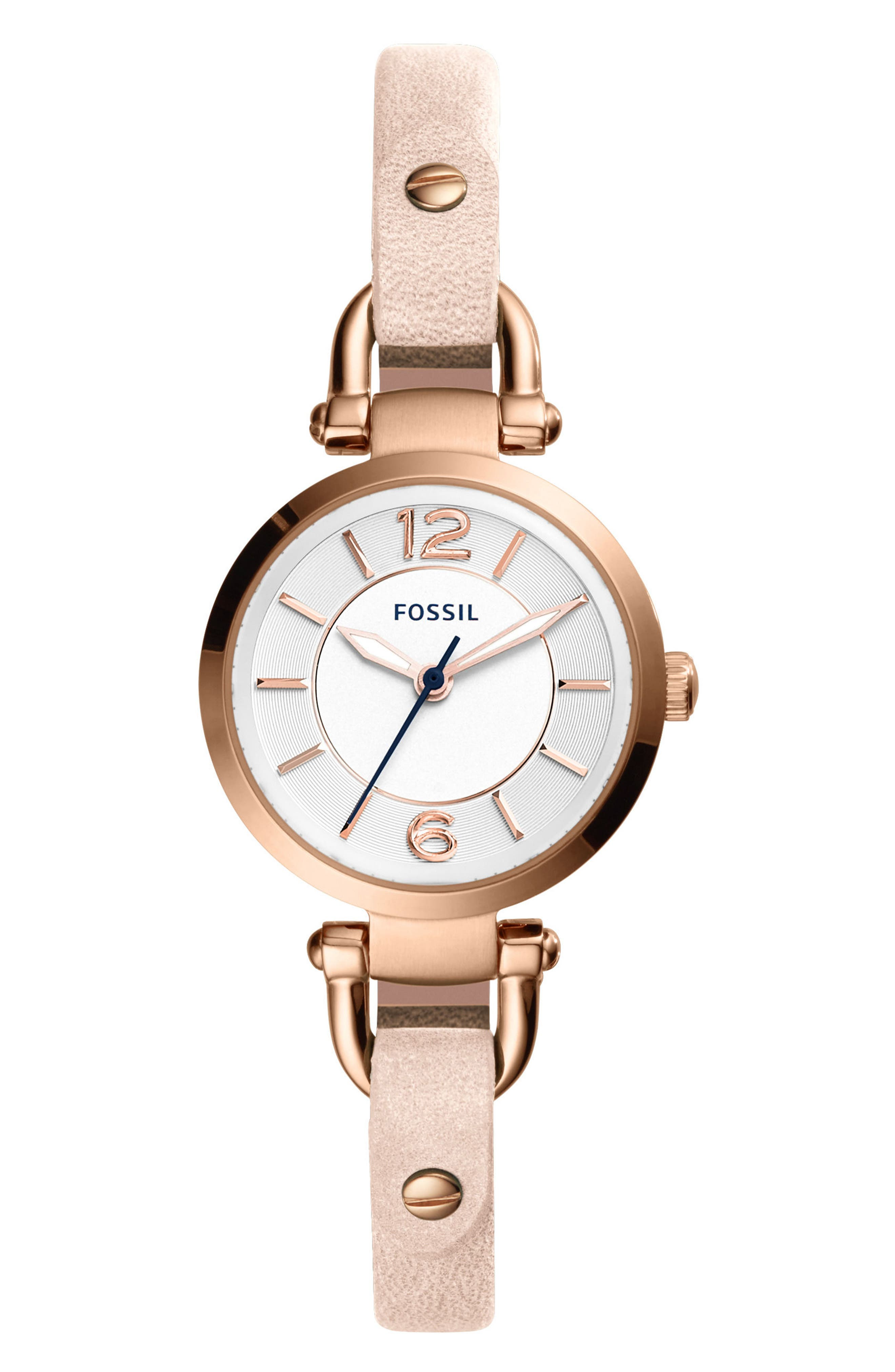 'Small Georgia' Leather Strap Watch, 26mm,                             Alternate thumbnail 2, color,                             BEIGE/ WHITE/ ROSE GOLD