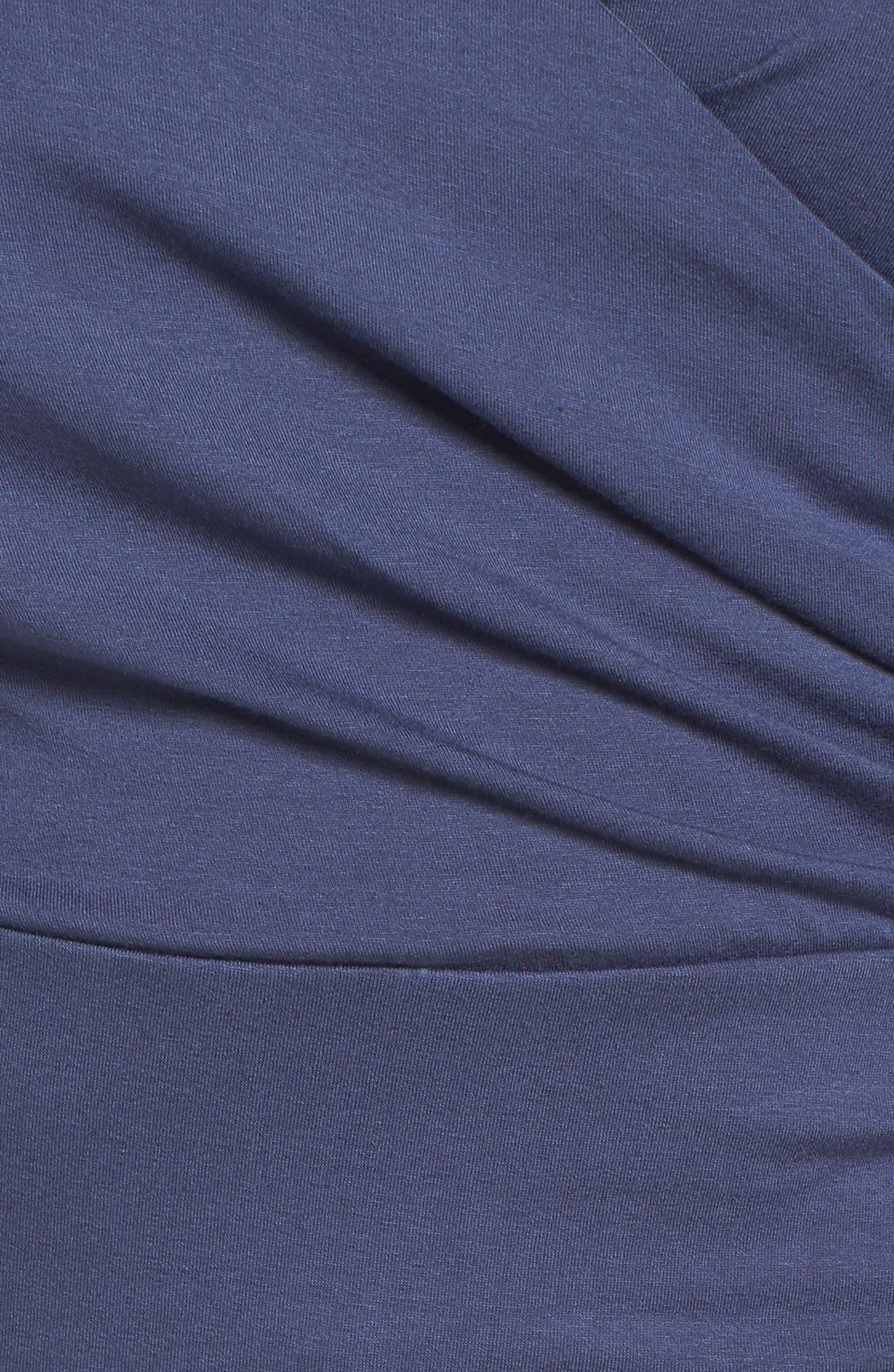 Faux Wrap Top,                             Alternate thumbnail 5, color,                             ANTIQUE BLUE