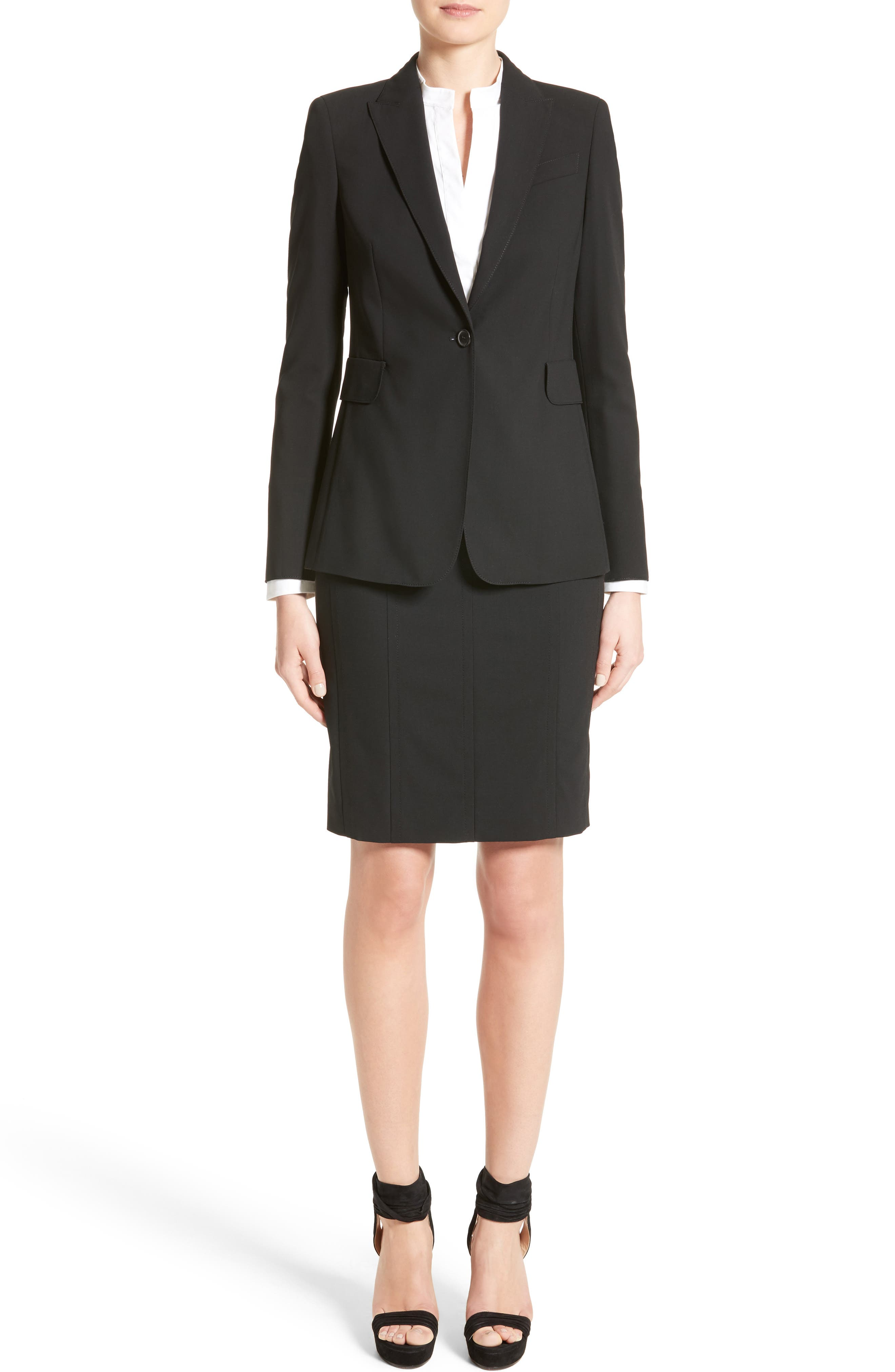 Wool Pencil Skirt,                             Alternate thumbnail 2, color,                             BLACK