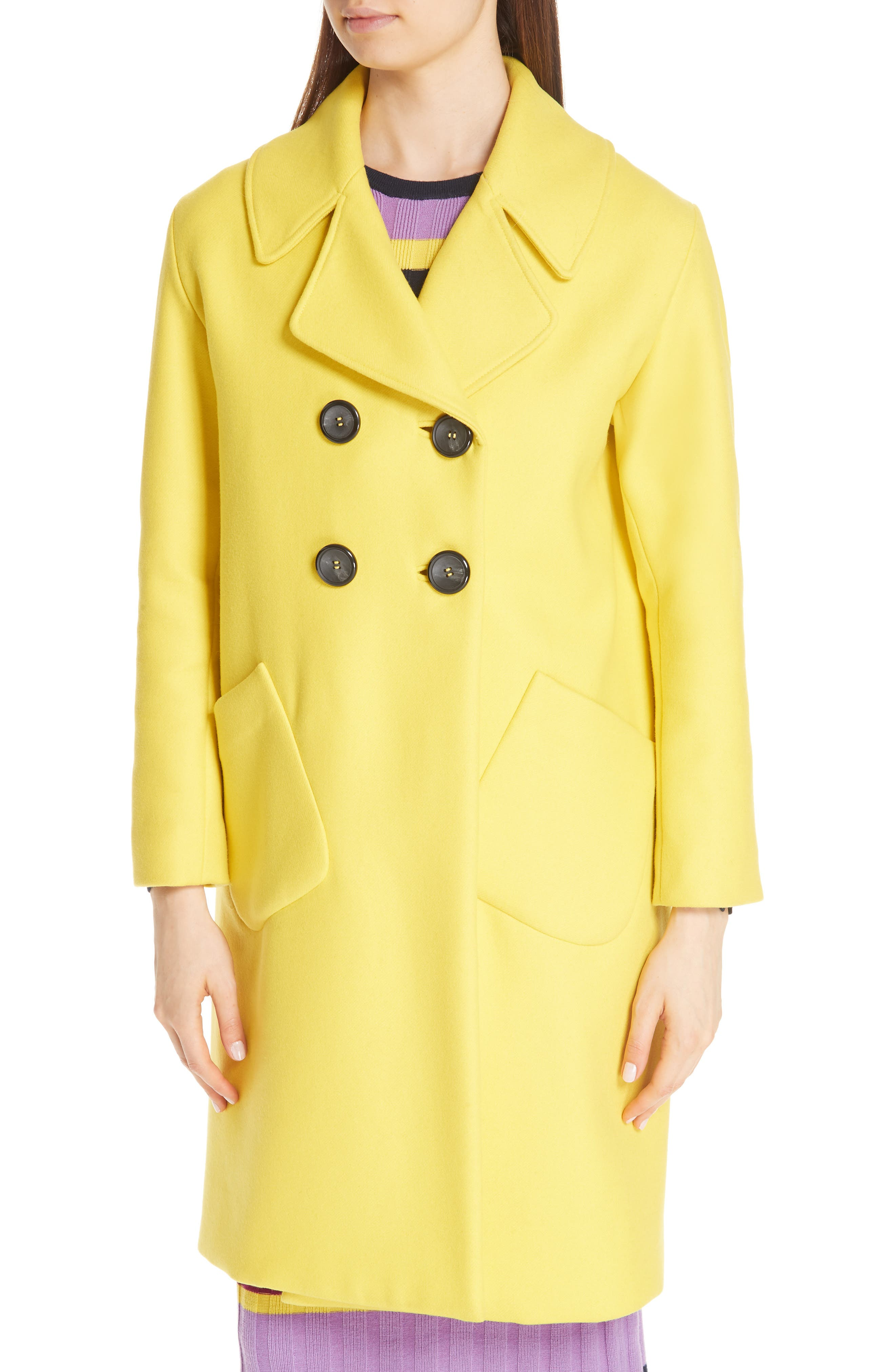 Double Breasted Brushed Wool Coat with Genuine Fox Fur Collar,                             Alternate thumbnail 2, color,                             700