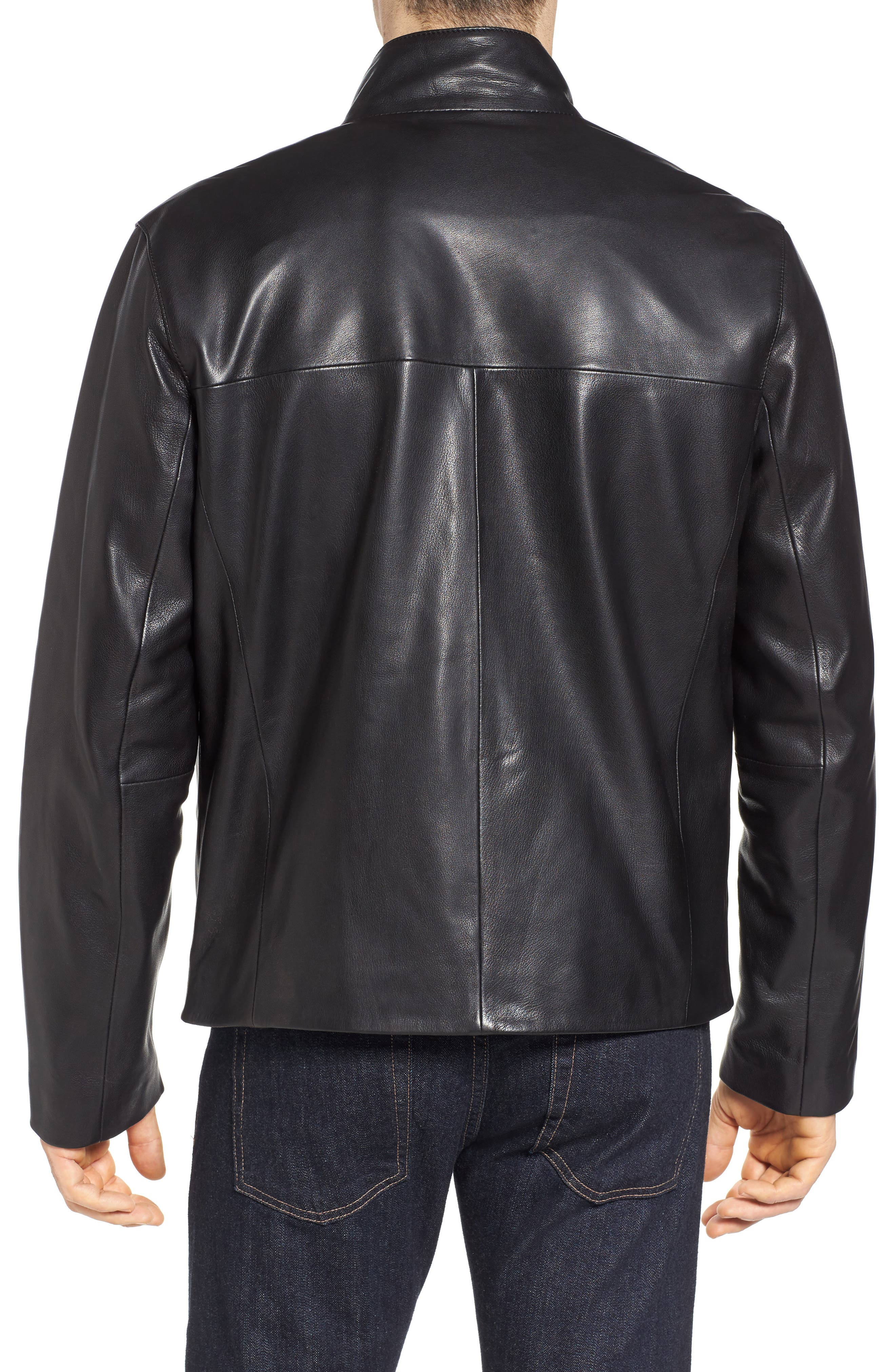 Washed Leather Jacket,                             Alternate thumbnail 2, color,                             001