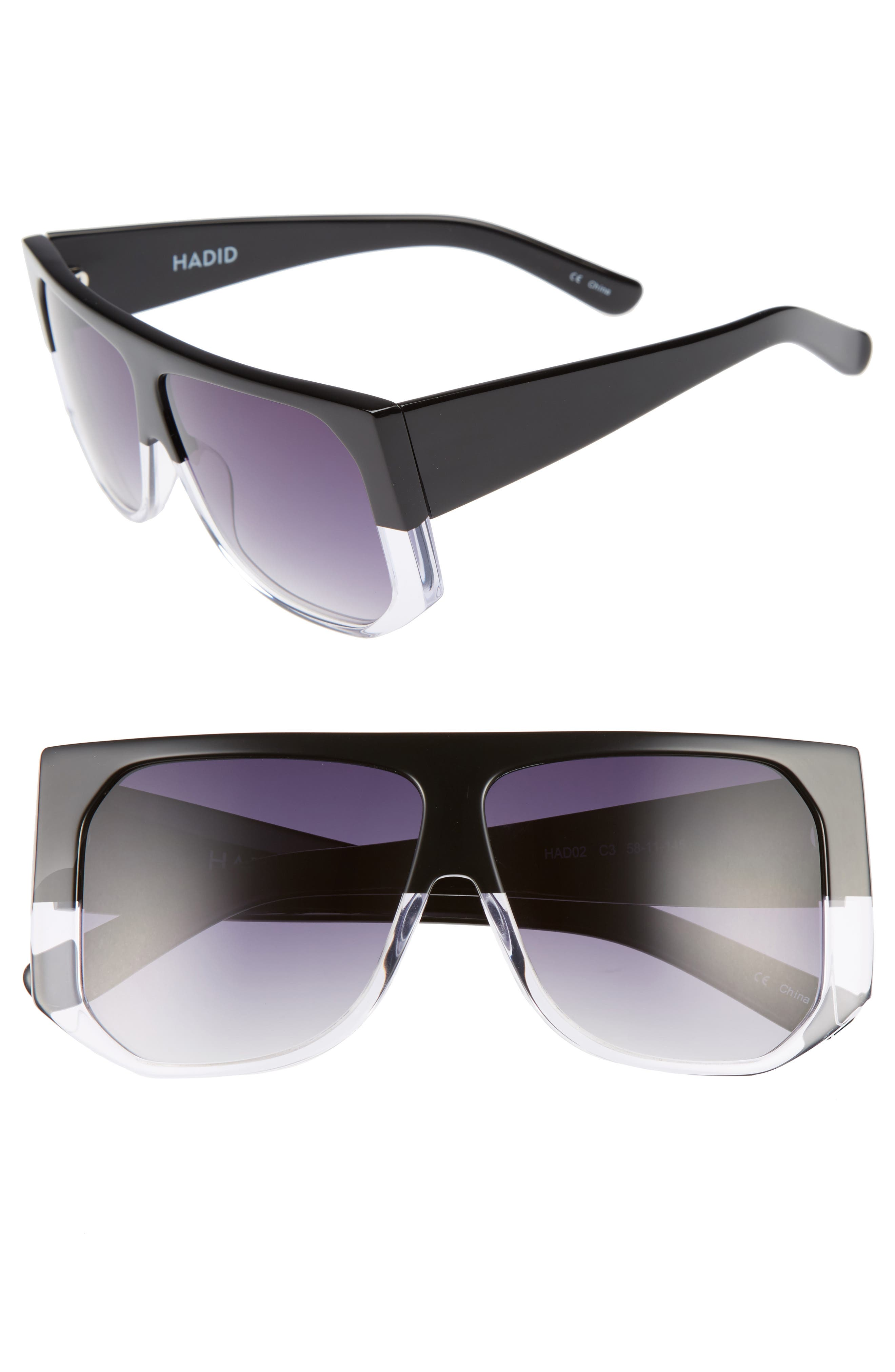 HADID Frequent Flyer 58mm Sunglasses, Main, color, 001