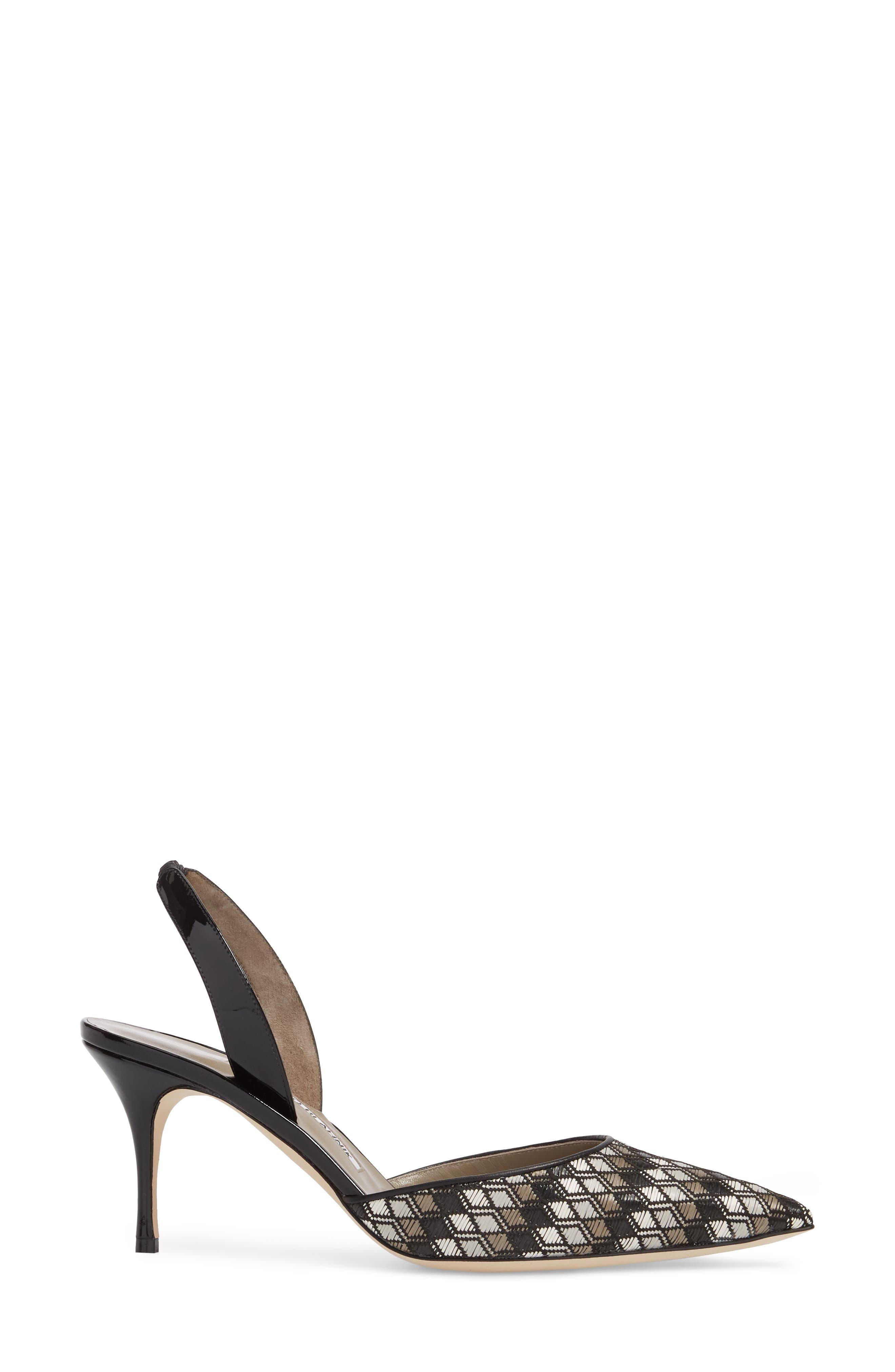 'Carolyne' Pointy Toe Slingback Pump,                             Alternate thumbnail 3, color,                             BLACK/ GREY/ WHITE