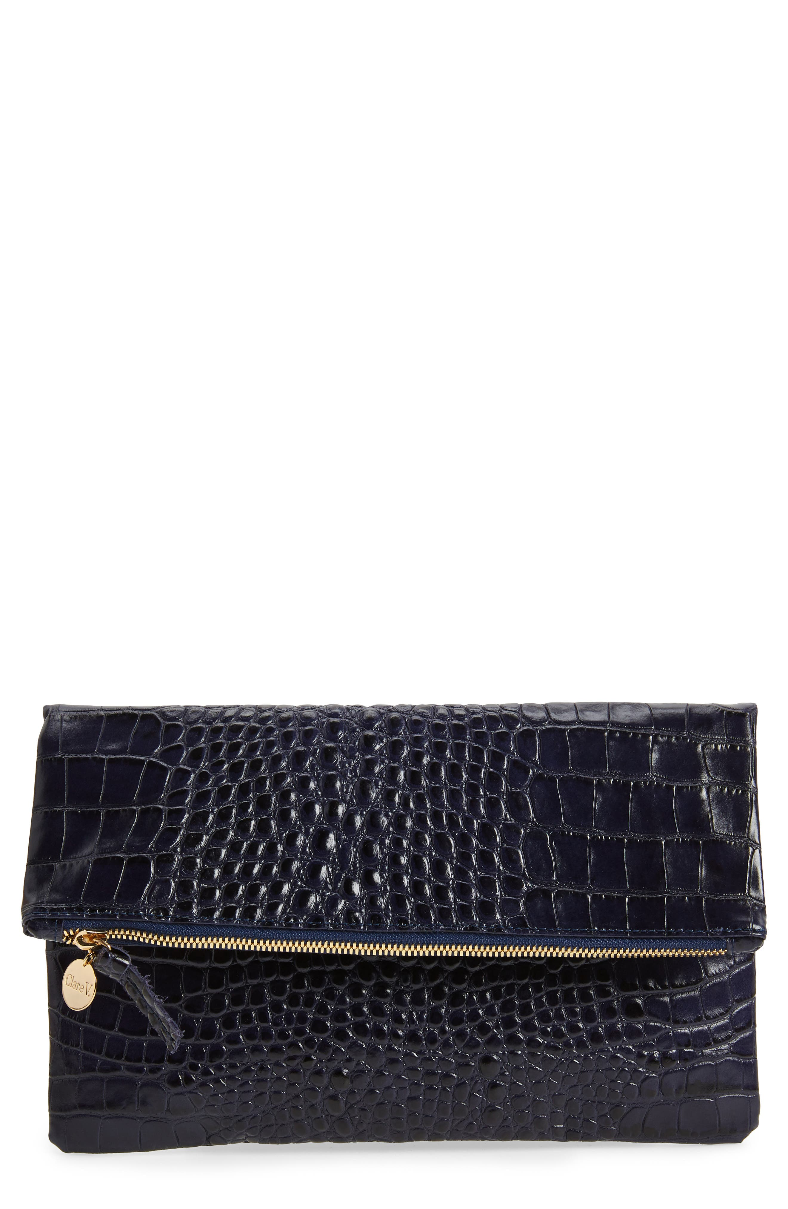 Croc Embossed Leather Foldover Clutch,                             Main thumbnail 1, color,                             MIDNIGHT CROCO