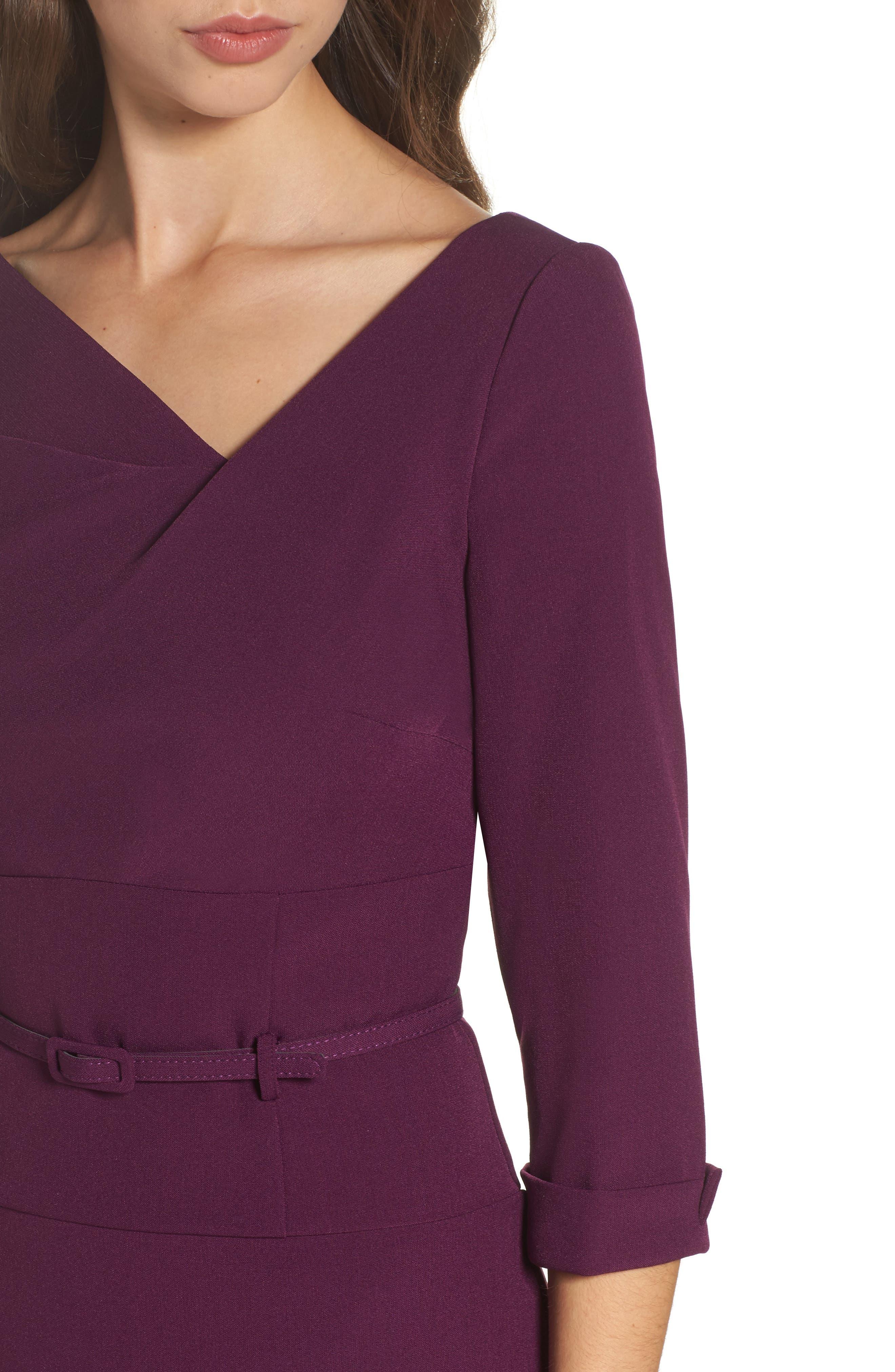Belted Crepe Sheath Dress,                             Alternate thumbnail 4, color,                             606