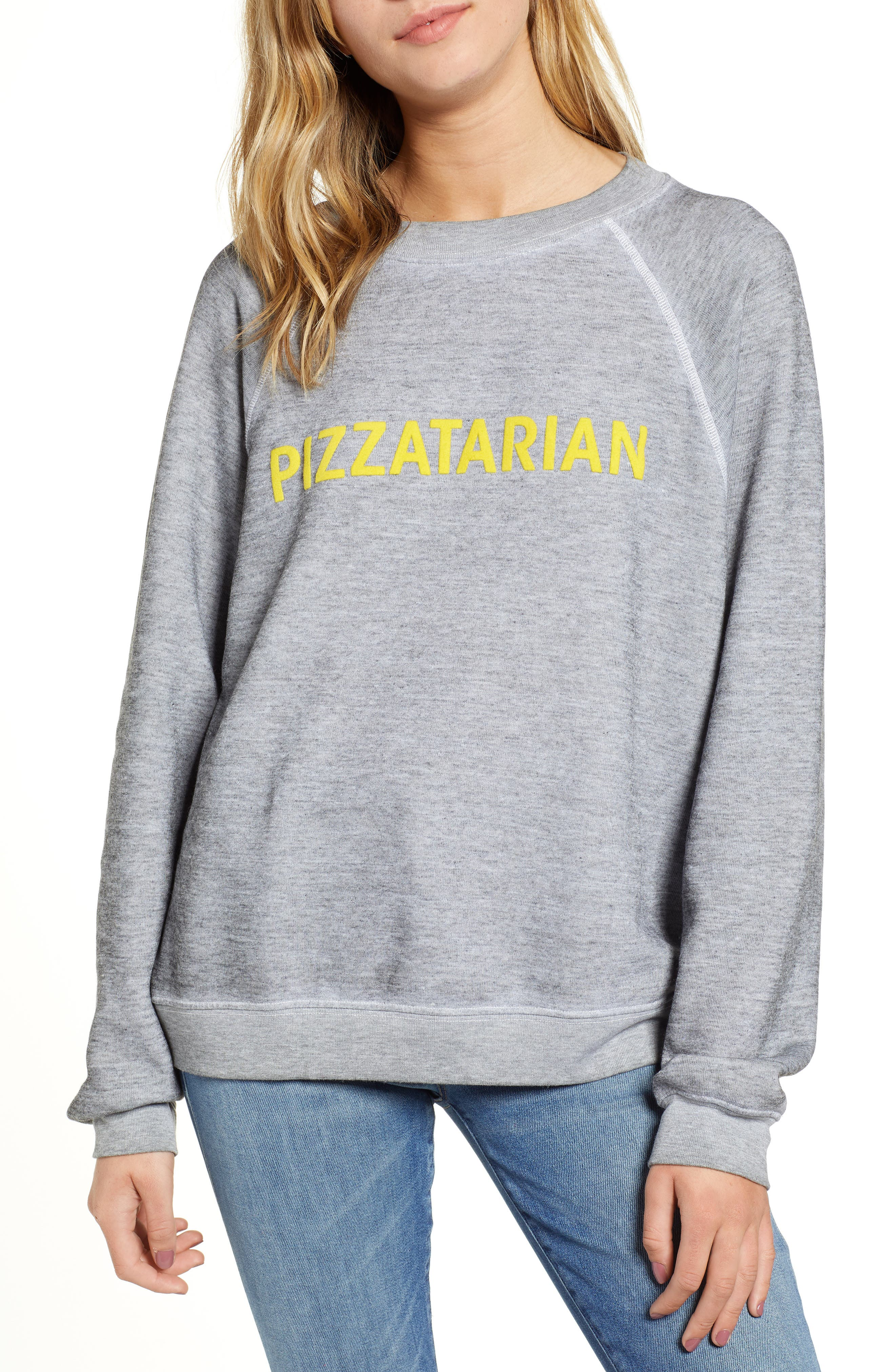 Pizzatarian Sommers Sweatshirt,                         Main,                         color, HEATHER