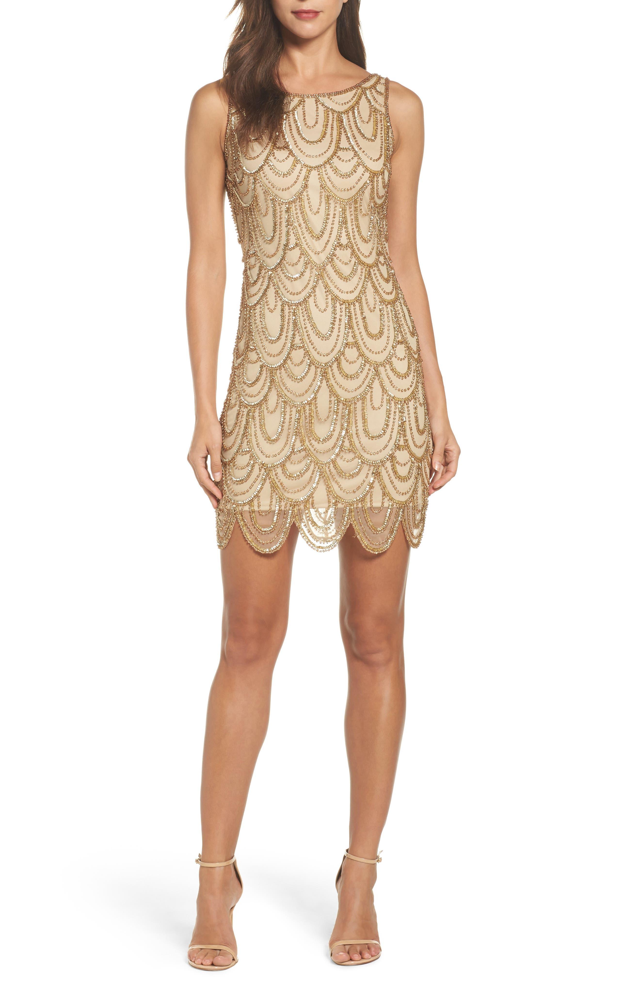 Embellished Mesh Sheath Dress,                             Alternate thumbnail 27, color,