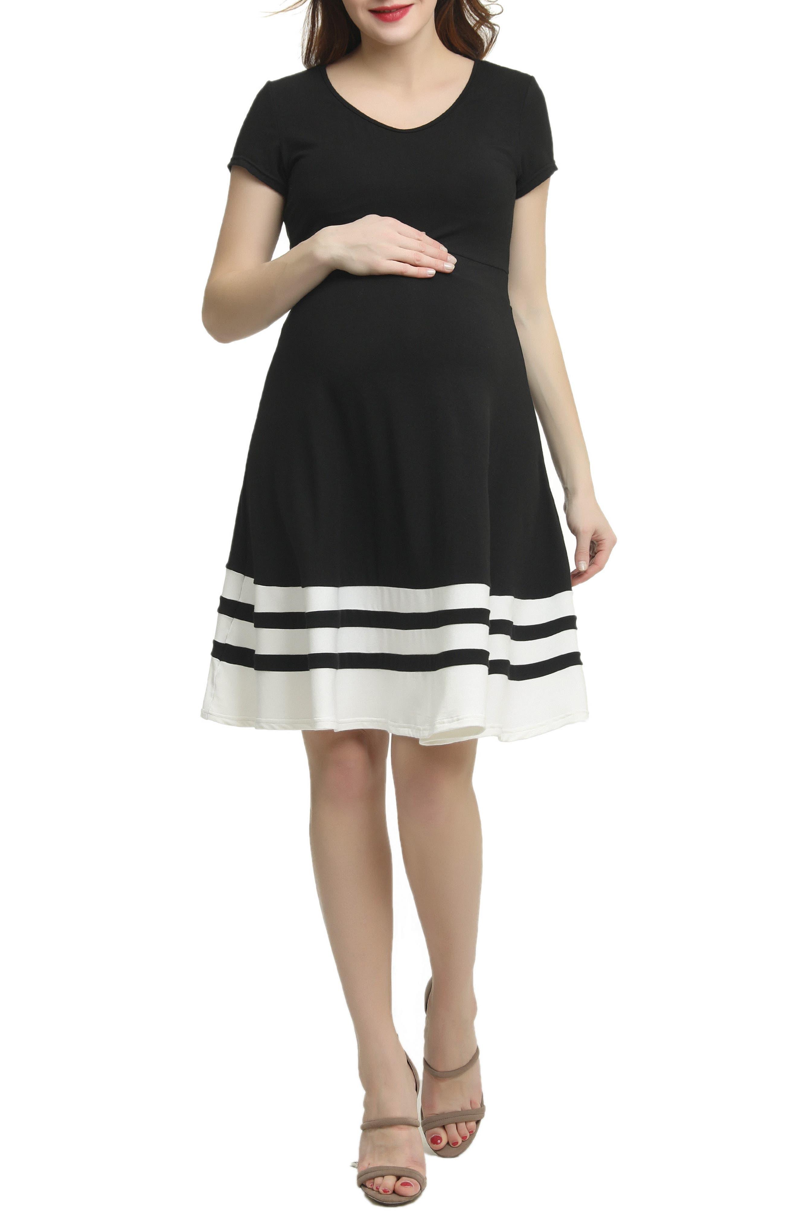 Theresa Colorblock Maternity Skater Dress,                             Main thumbnail 1, color,                             BLACK/ WHITE