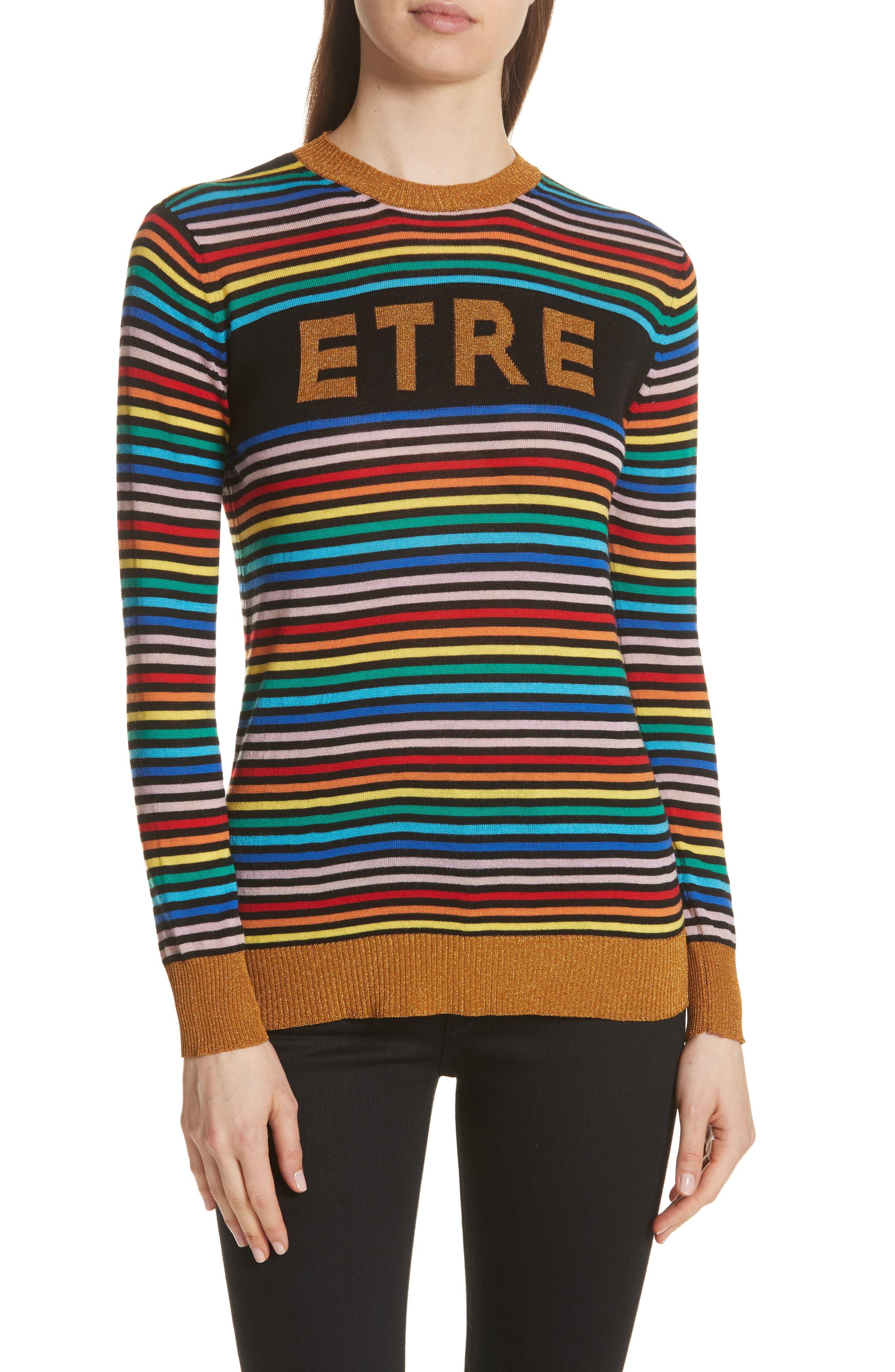 être cécile Stripe Knit Boyfriend Sweater,                             Main thumbnail 1, color,                             001