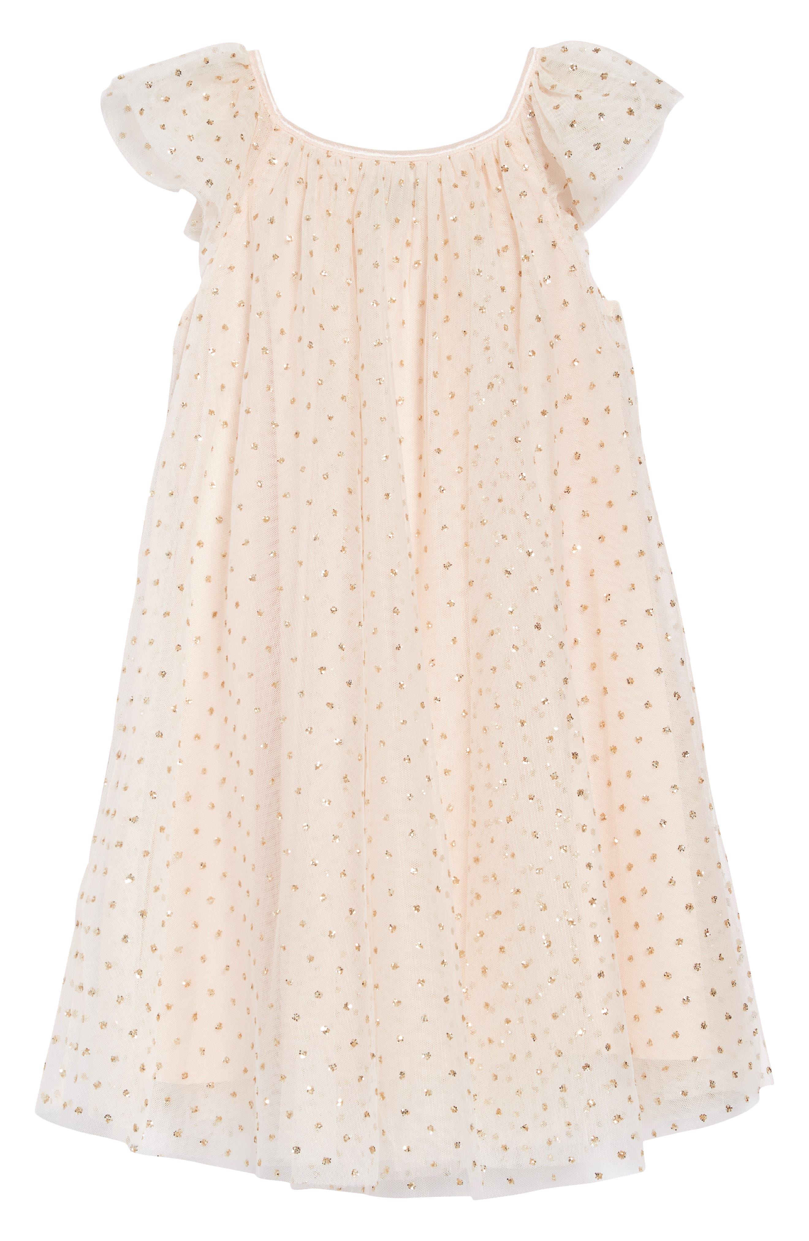 ZUNIE,                             Flutter Sleeve Glitter Dress,                             Alternate thumbnail 2, color,                             BLUSH