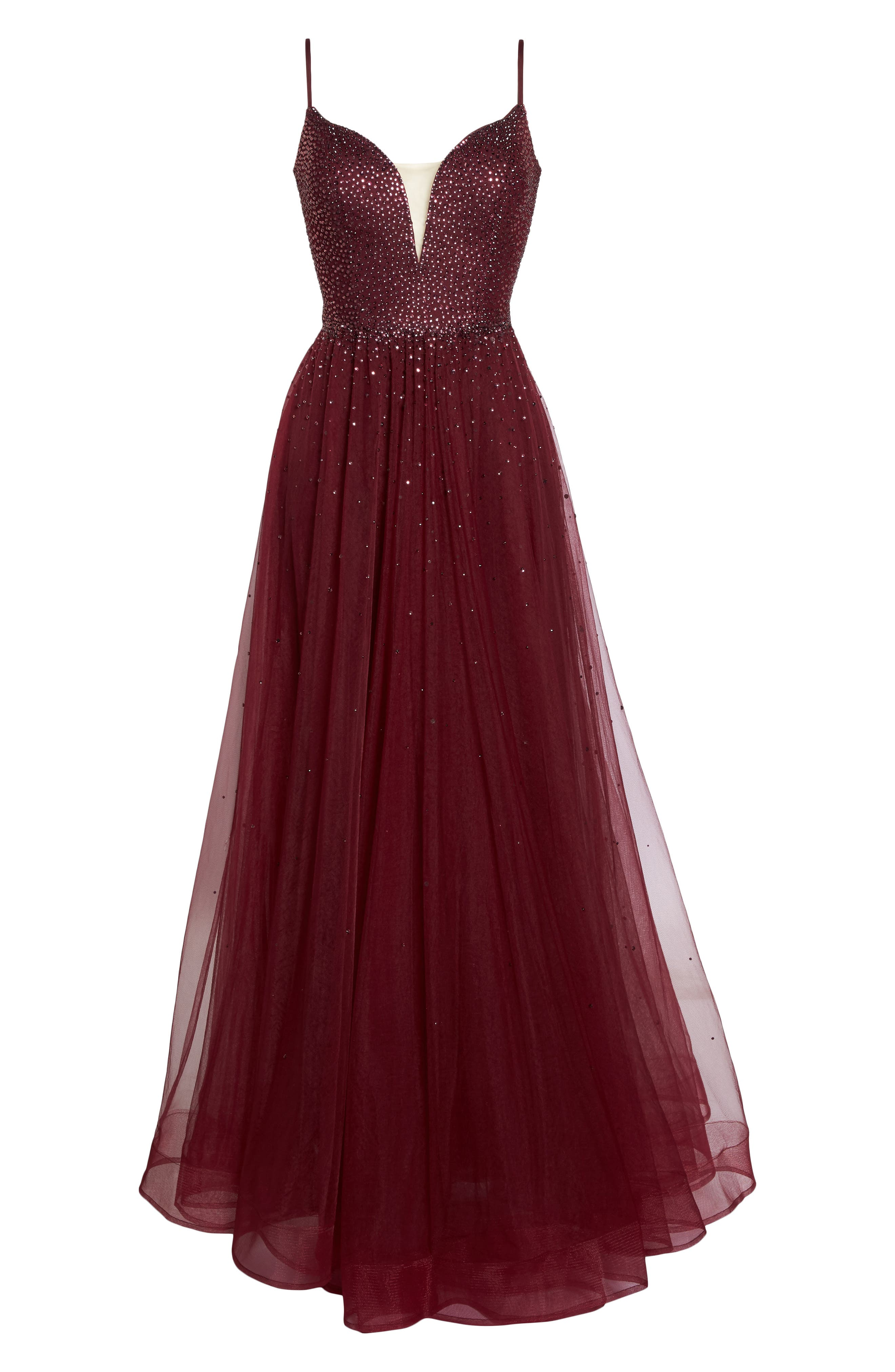 Embellished Illusion Plunge Gown,                             Alternate thumbnail 6, color,                             617
