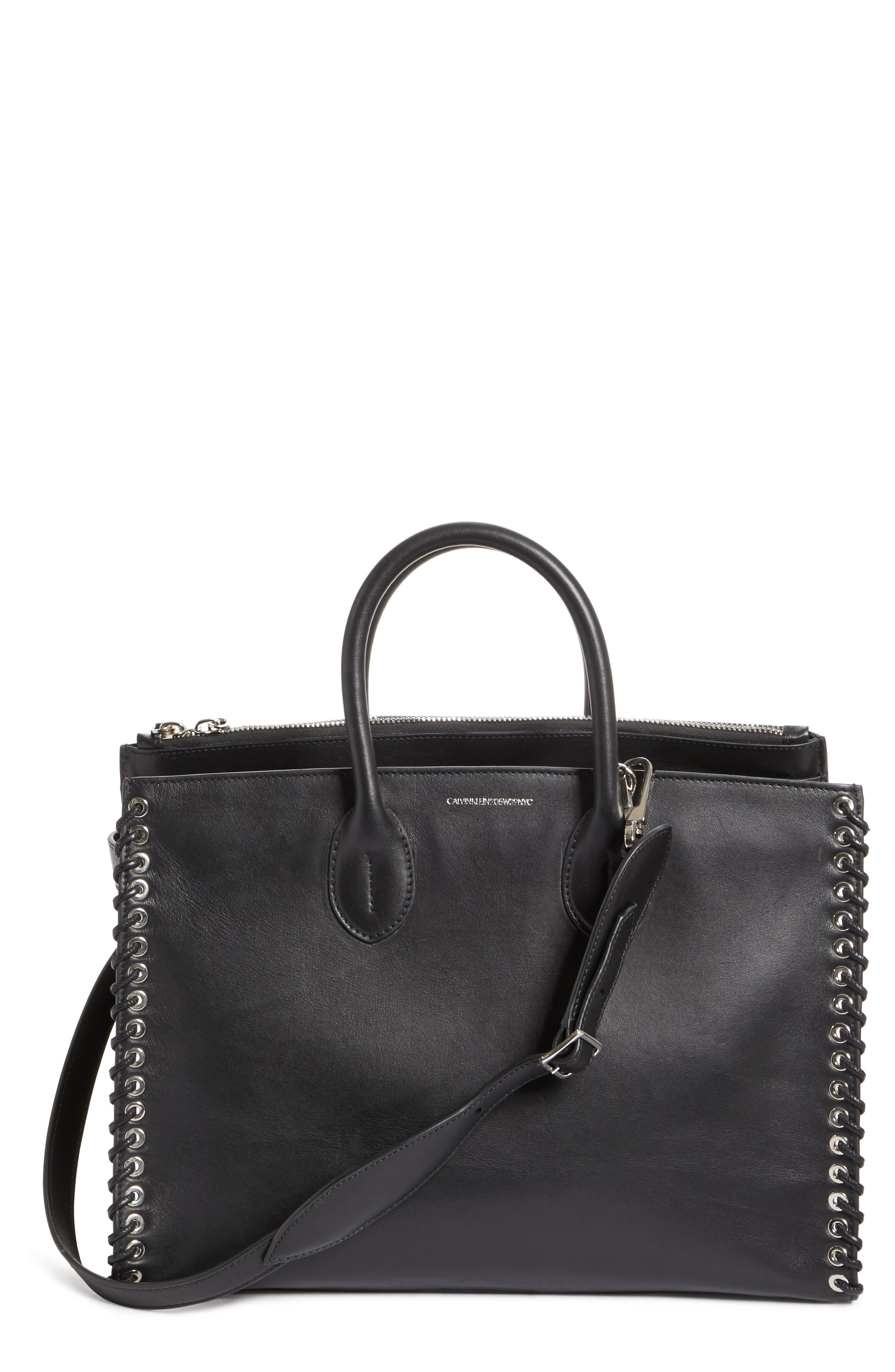 Large Whipstitch Calfskin Tote,                             Main thumbnail 1, color,                             001