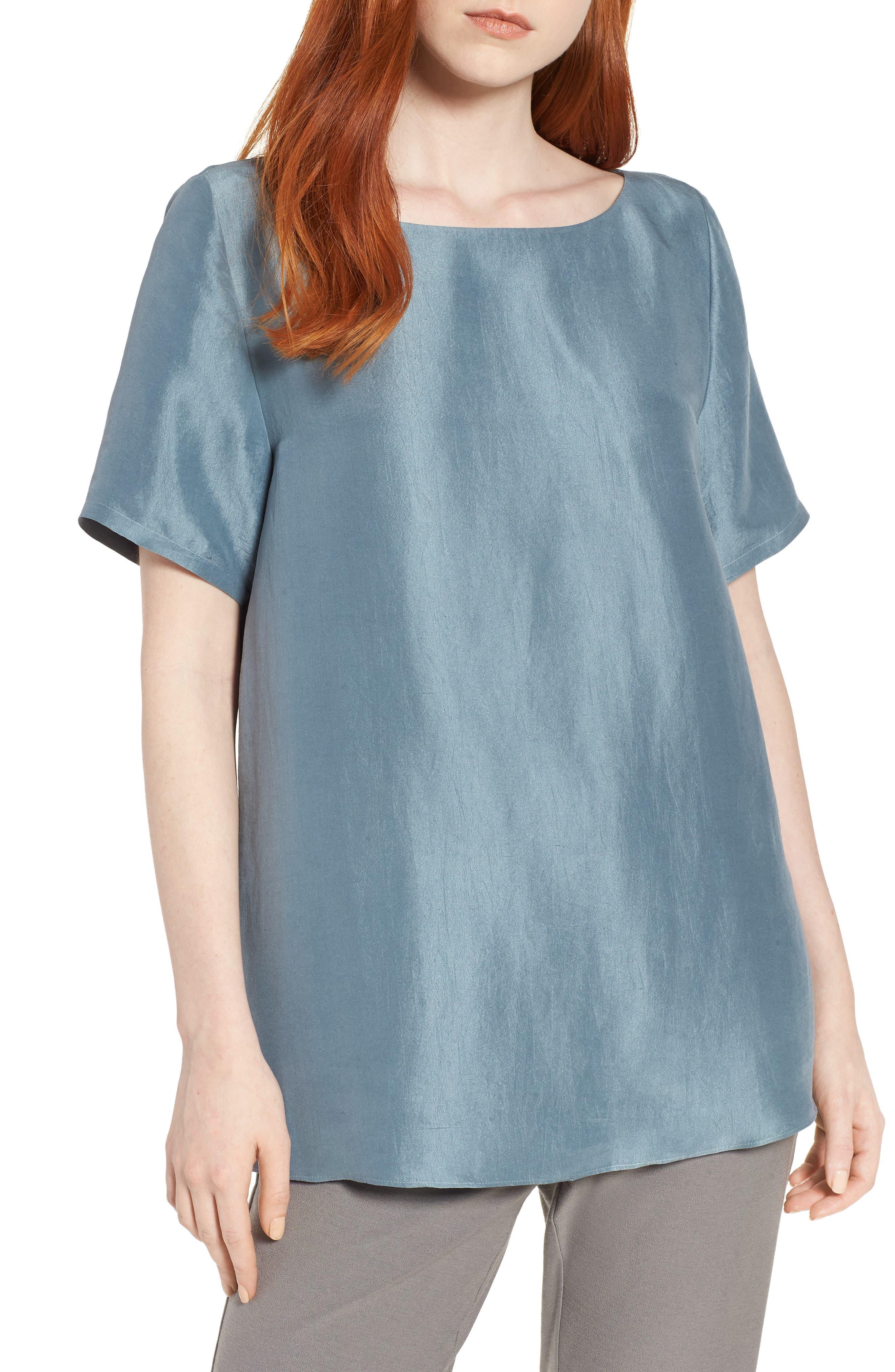 V-Back Silk Top,                         Main,                         color, 454