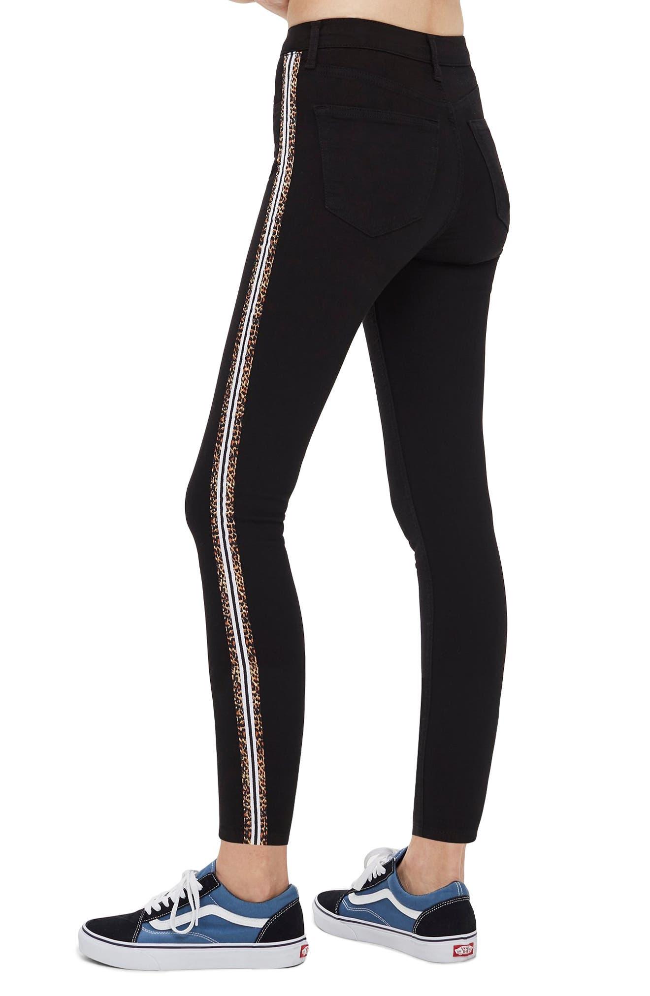 Leopard Stripe Jeans,                             Alternate thumbnail 2, color,                             WASHED BLACK