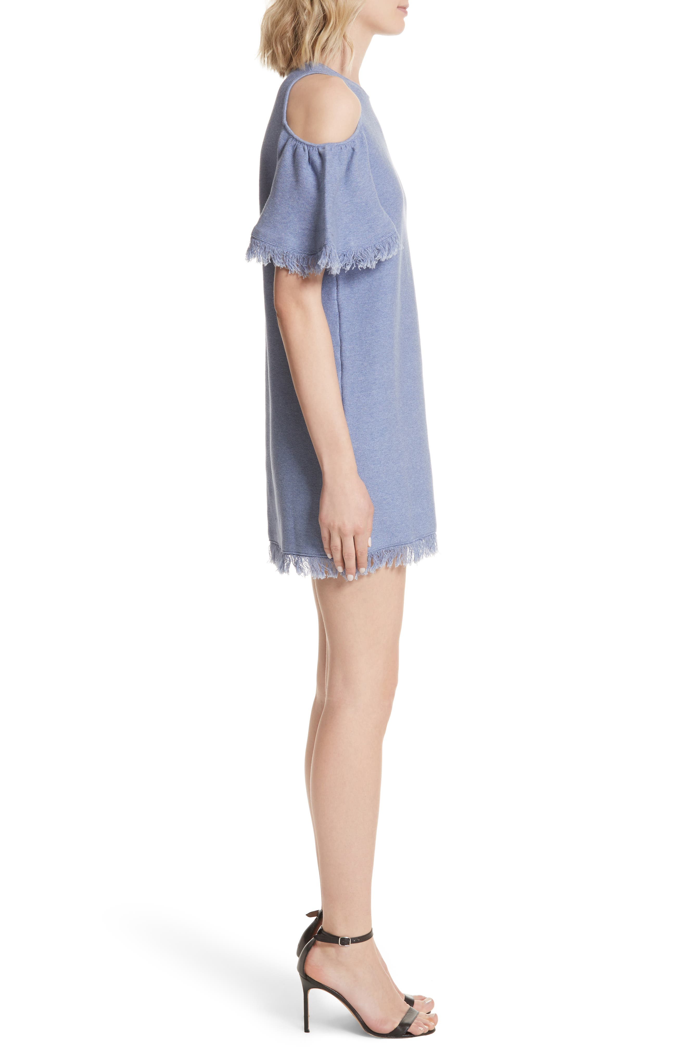 Denim Knit Fringe Cold Shoulder Minidress,                             Alternate thumbnail 3, color,