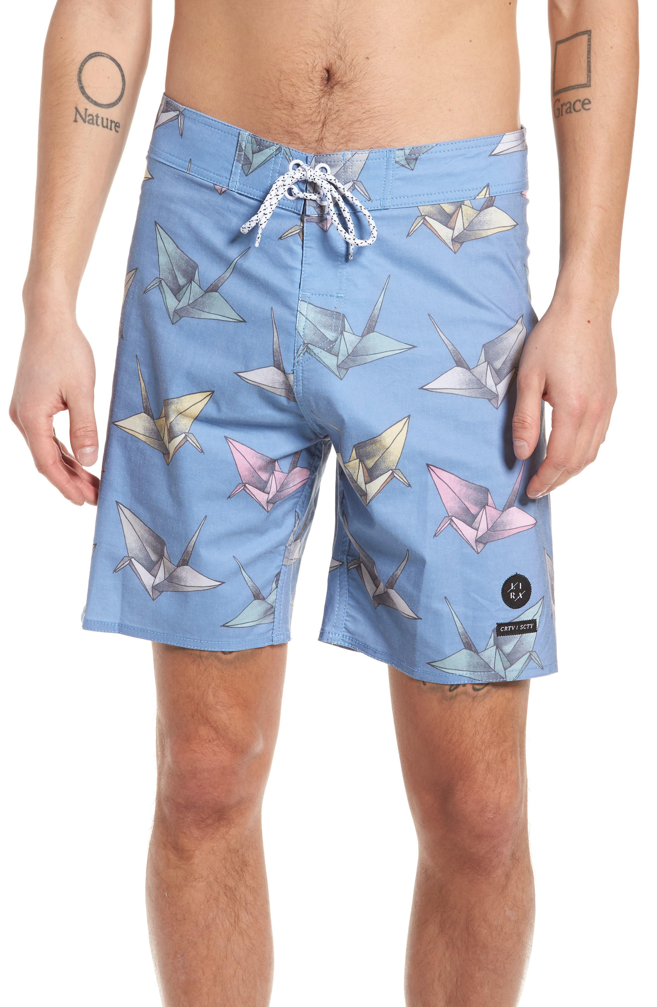 Origami Print Board Shorts,                             Main thumbnail 1, color,