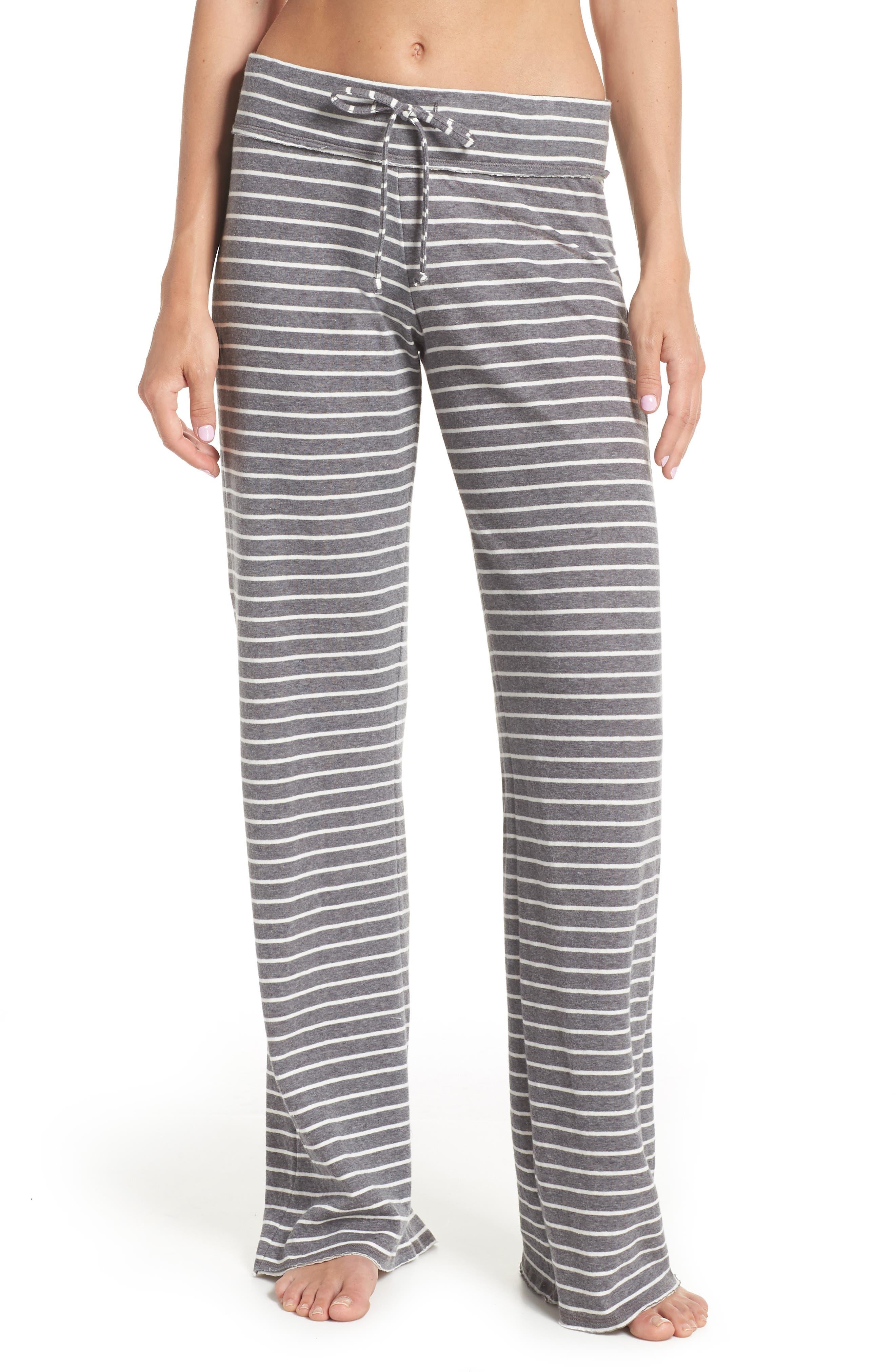 'Lazy Mornings' Lounge Pants,                             Main thumbnail 1, color,                             GREY PAVEMENT BELLA STRIPE