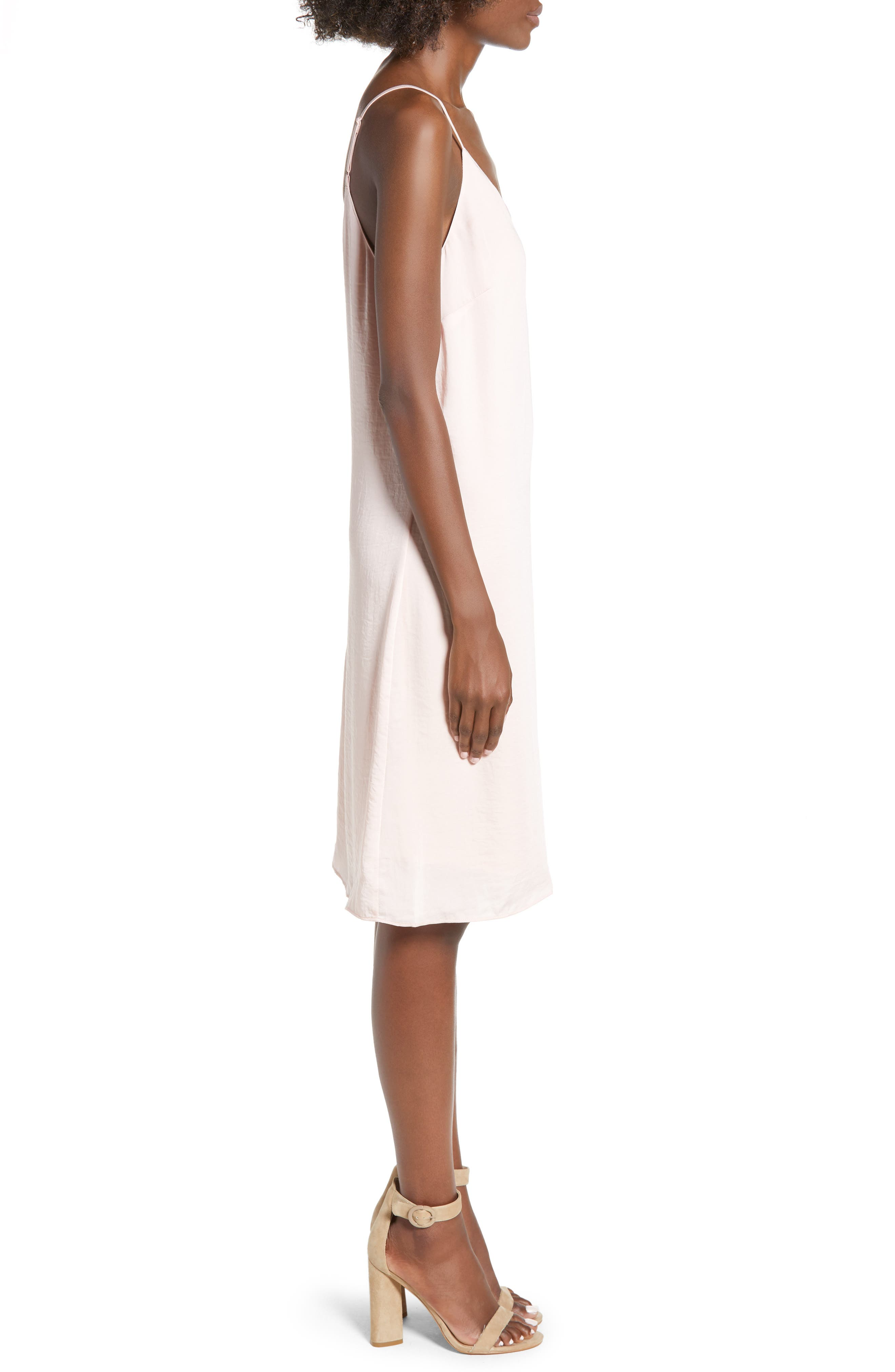 Hammered Satin Midi Slipdress,                             Alternate thumbnail 3, color,                             BLUSH